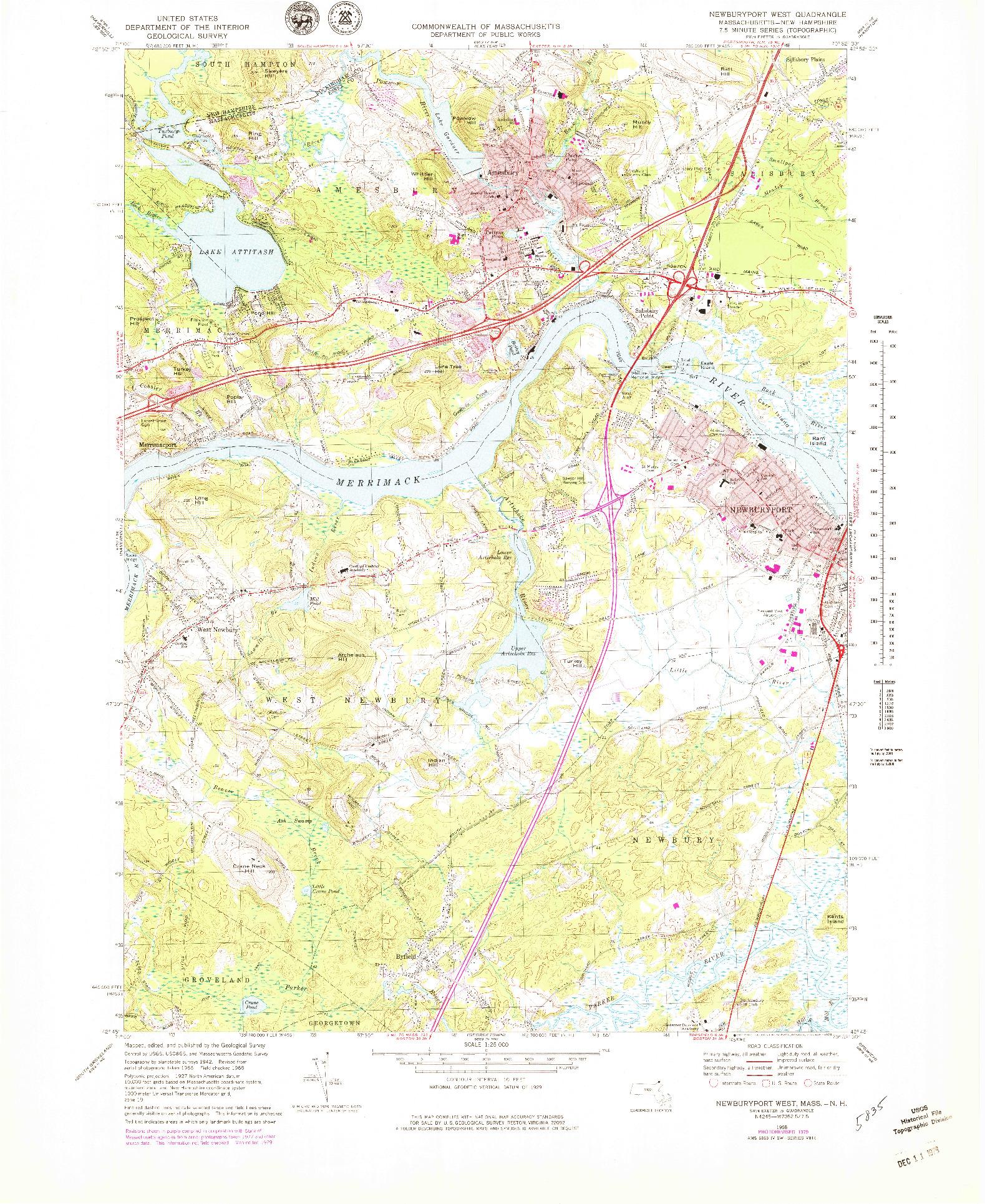 USGS 1:25000-SCALE QUADRANGLE FOR NEWBURYPORT WEST, MA 1968