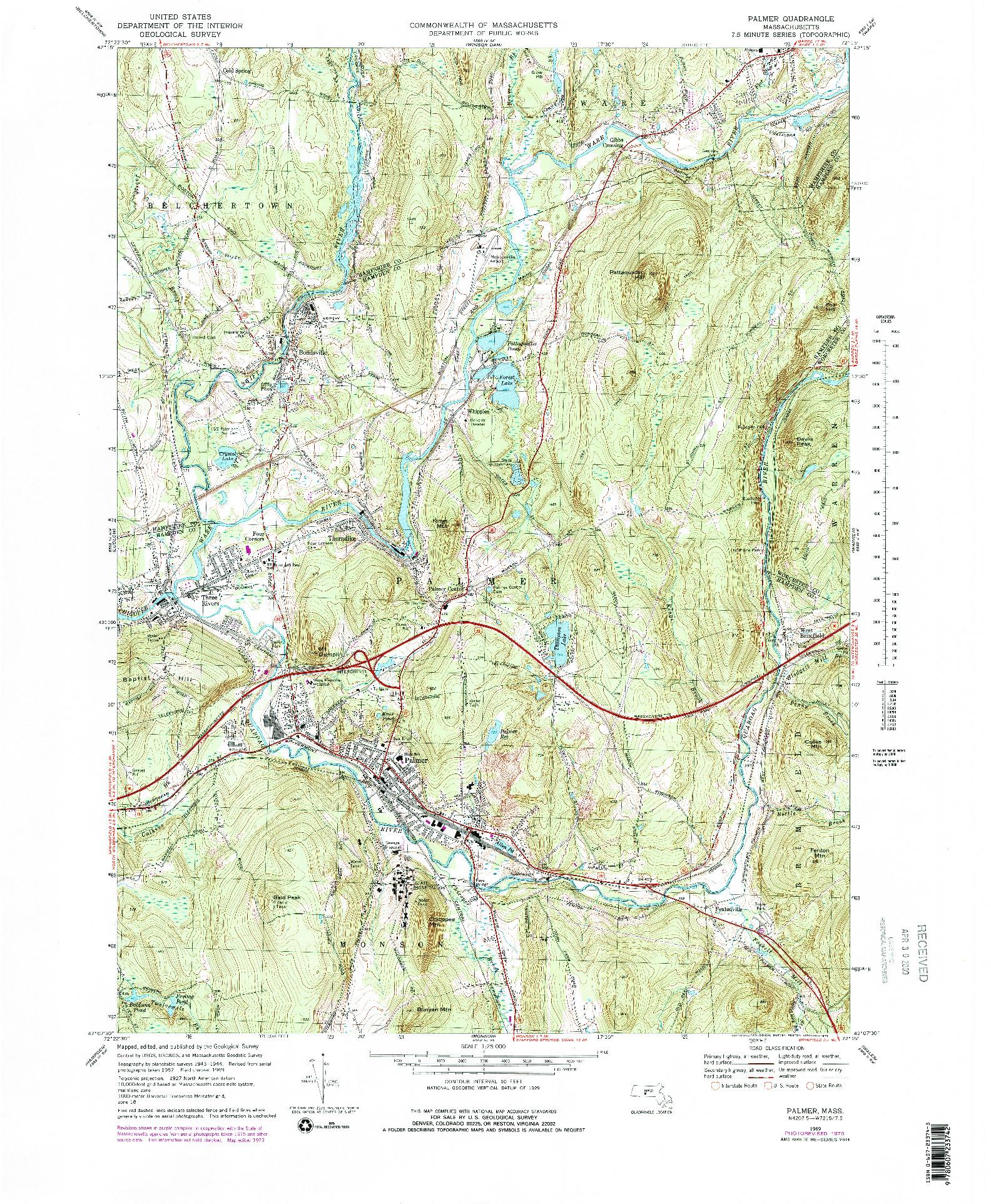 USGS 1:25000-SCALE QUADRANGLE FOR PALMER, MA 1969