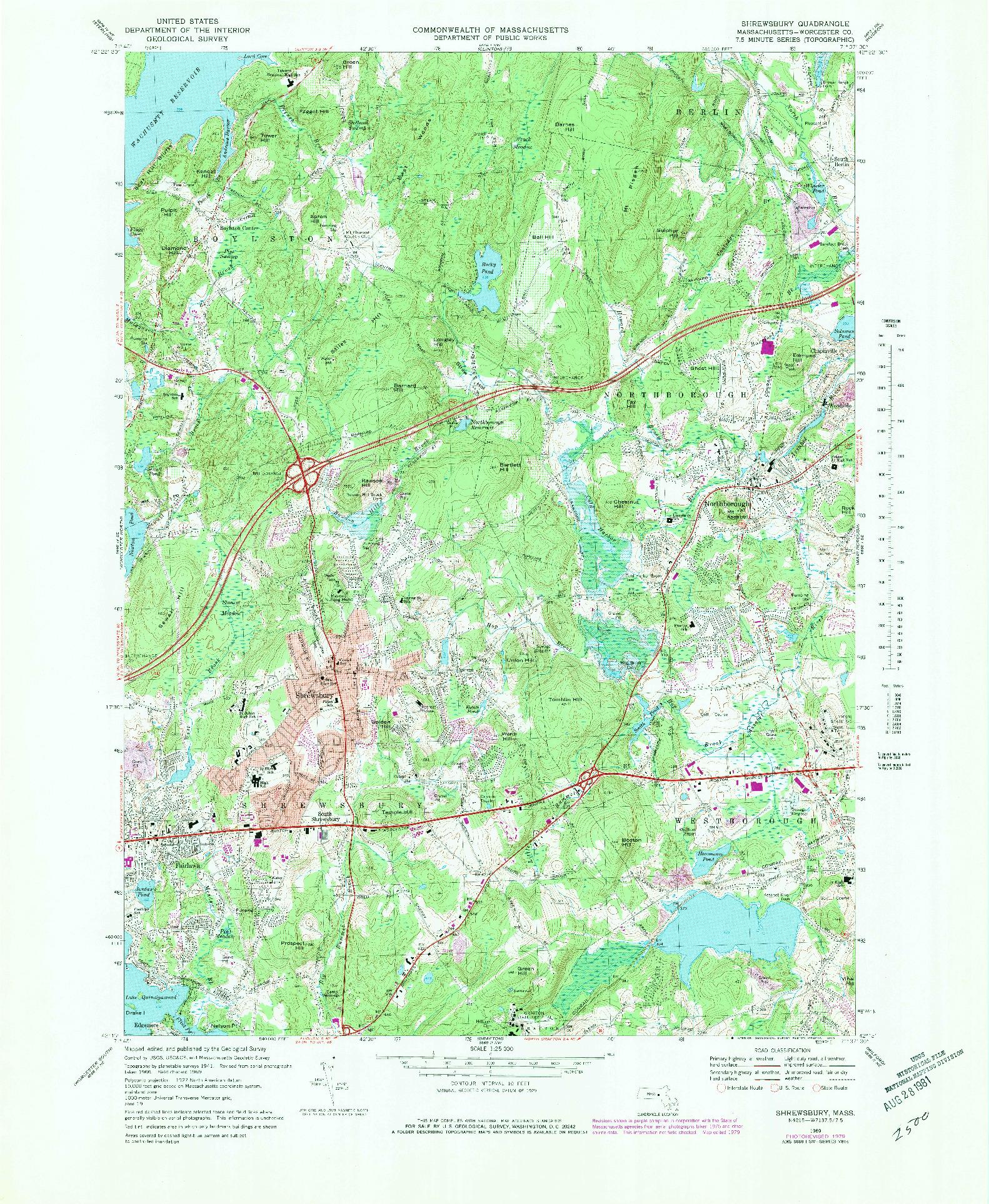 USGS 1:25000-SCALE QUADRANGLE FOR SHREWSBURY, MA 1969
