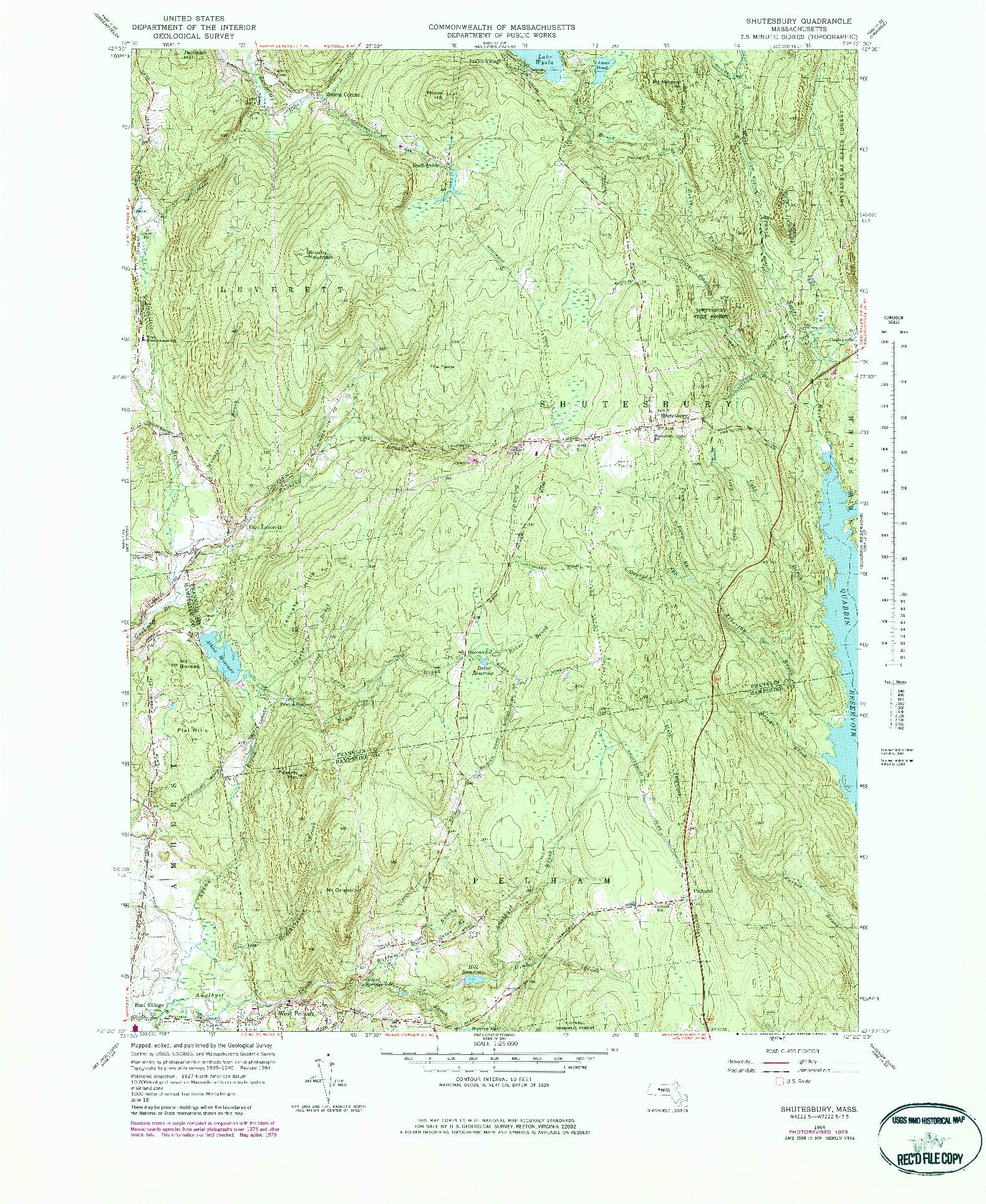 USGS 1:25000-SCALE QUADRANGLE FOR SHUTESBURY, MA 1964
