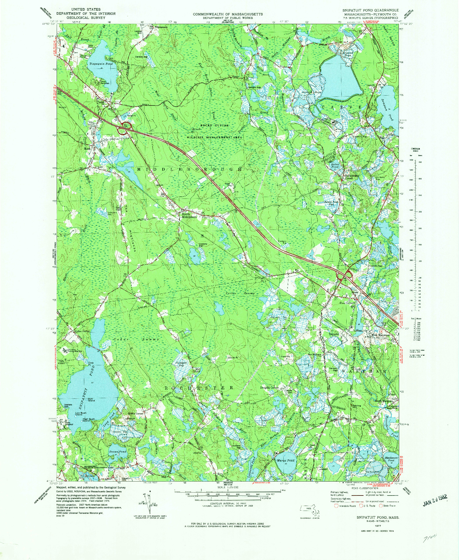 USGS 1:25000-SCALE QUADRANGLE FOR SNIPATUIT POND, MA 1977