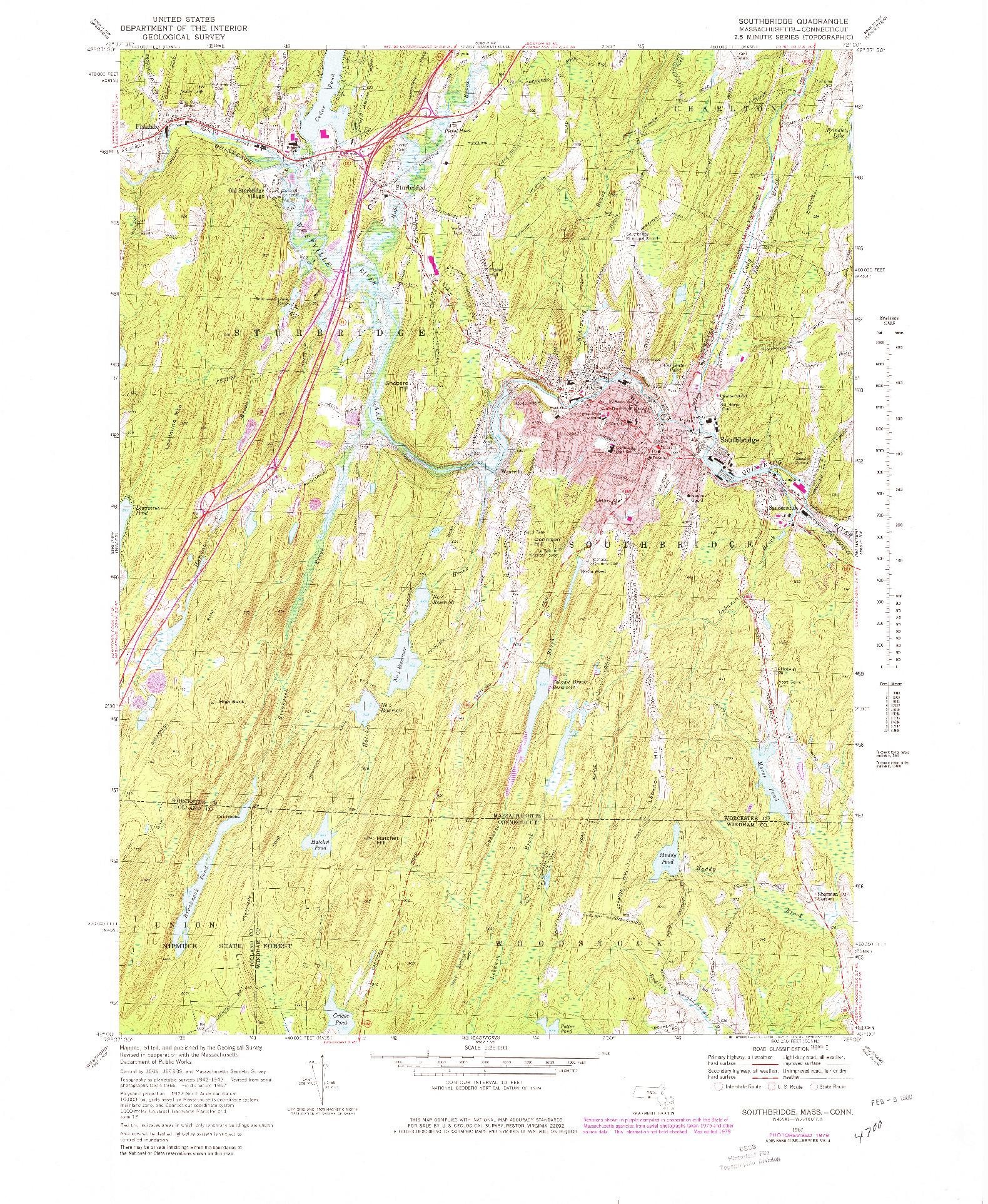 USGS 1:25000-SCALE QUADRANGLE FOR SOUTHBRIDGE, MA 1967