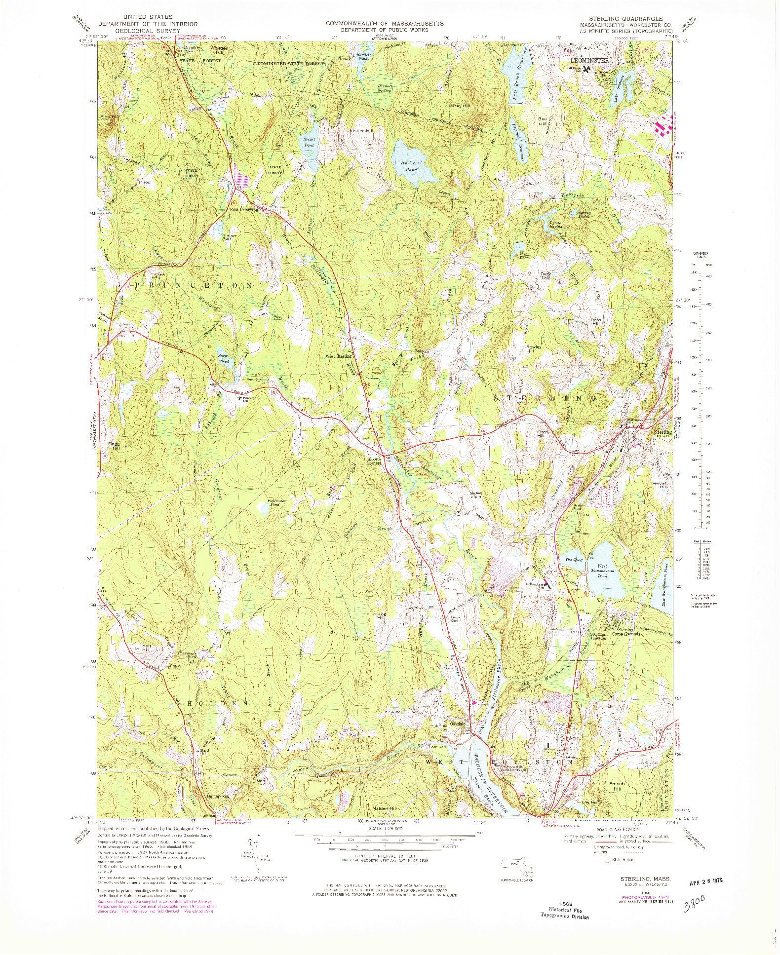 USGS 1:25000-SCALE QUADRANGLE FOR STERLING, MA 1968