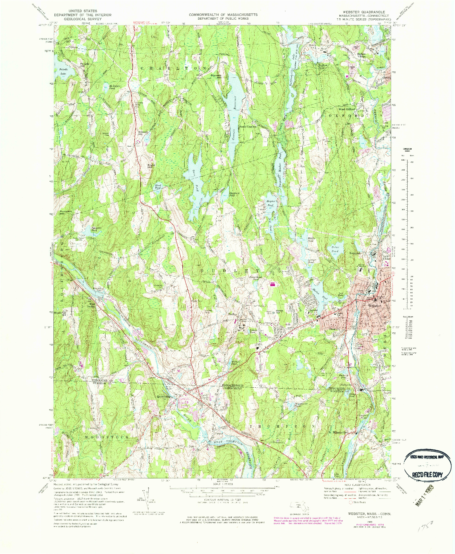 USGS 1:25000-SCALE QUADRANGLE FOR WEBSTER, MA 1969