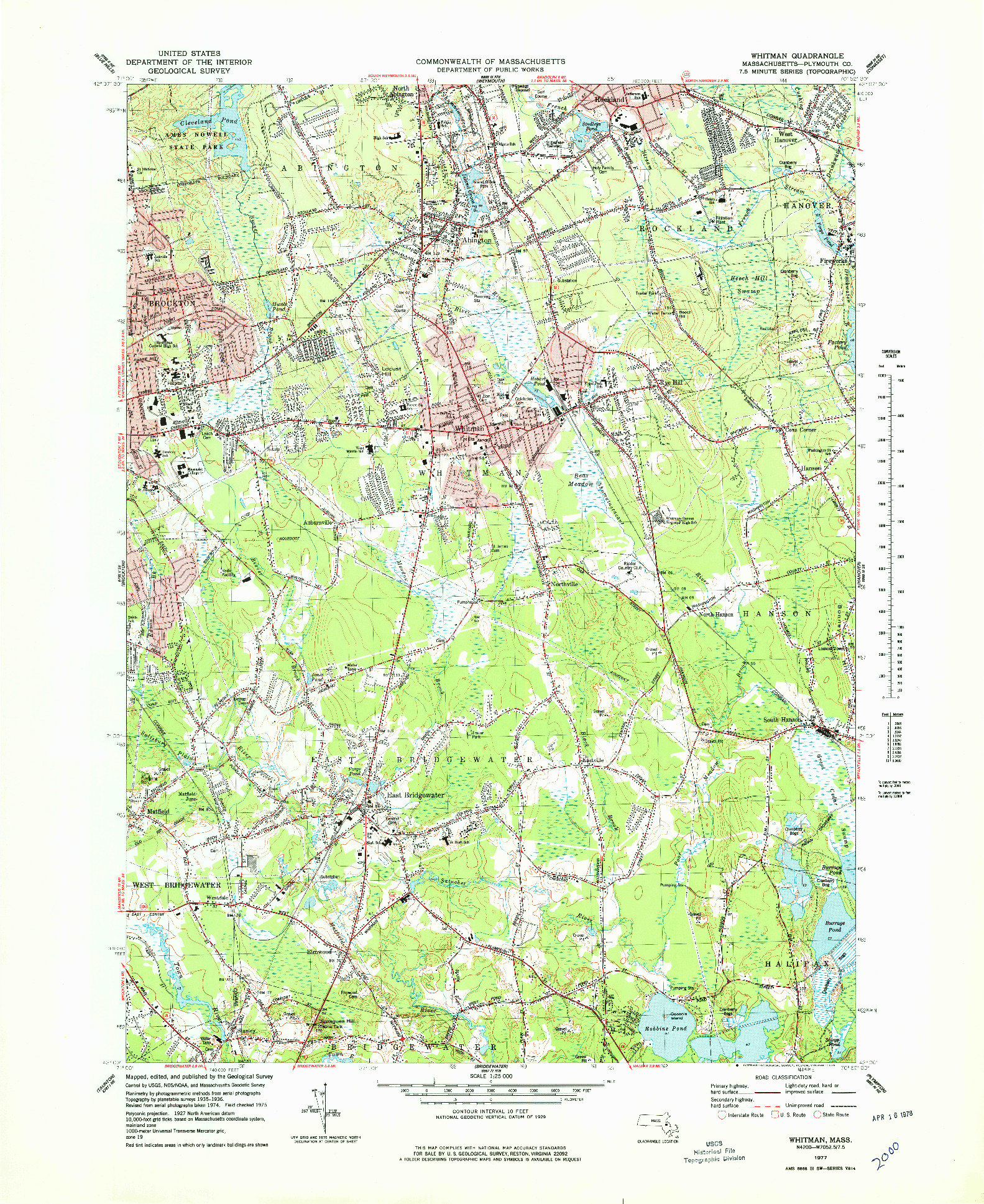 USGS 1:25000-SCALE QUADRANGLE FOR WHITMAN, MA 1977