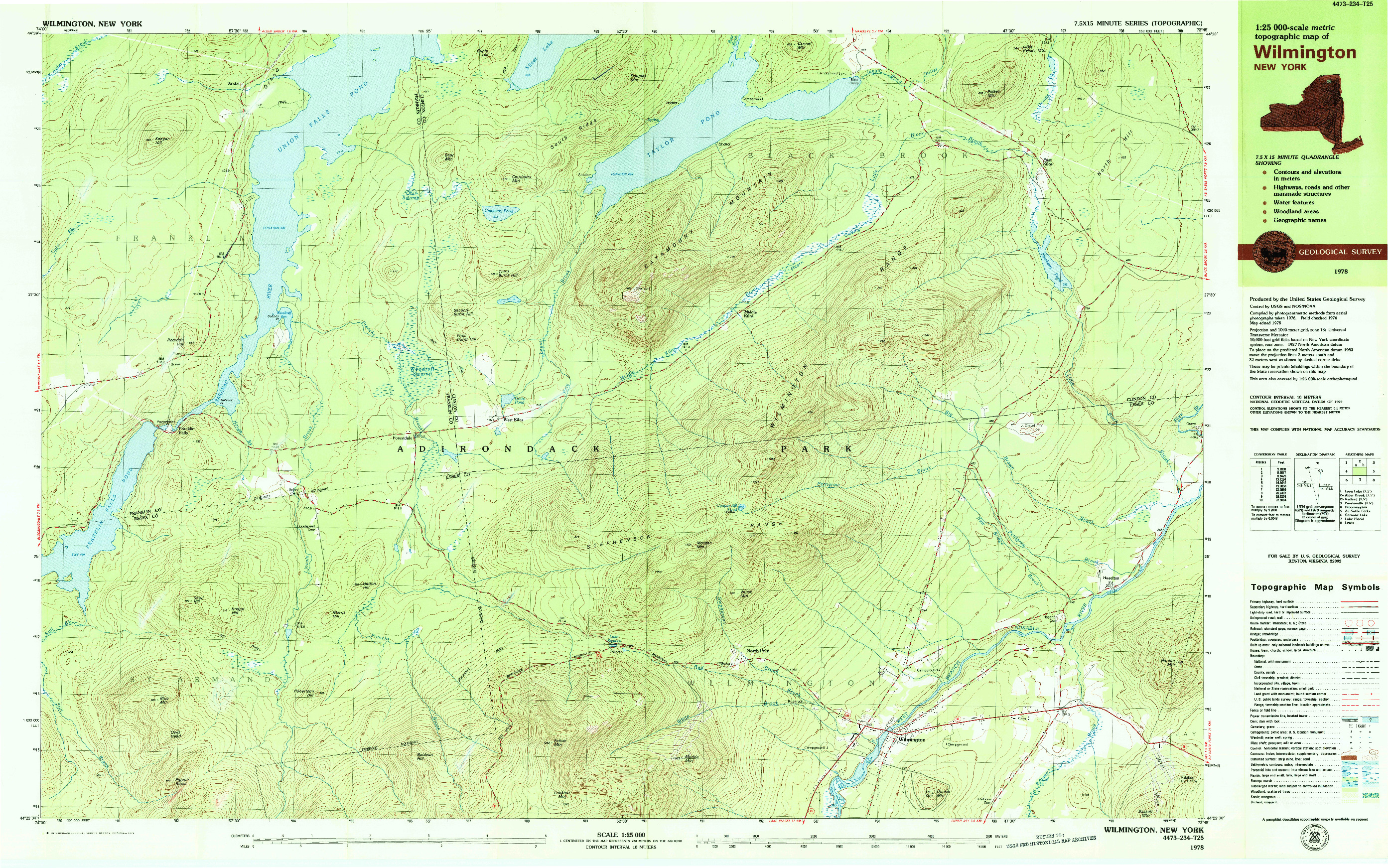 USGS 1:25000-SCALE QUADRANGLE FOR WILMINGTON, NY 1978