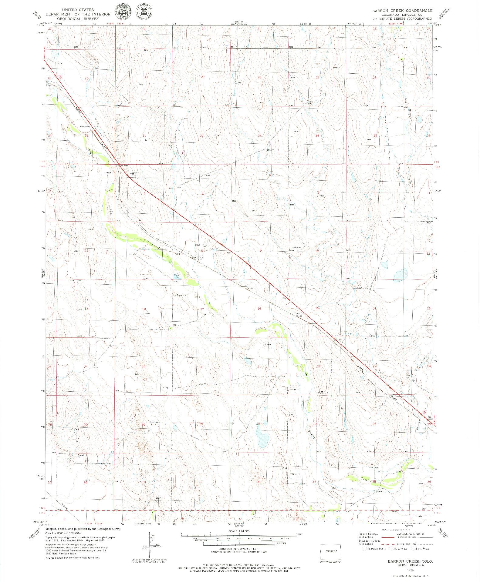 USGS 1:24000-SCALE QUADRANGLE FOR BARRON CREEK, CO 1979