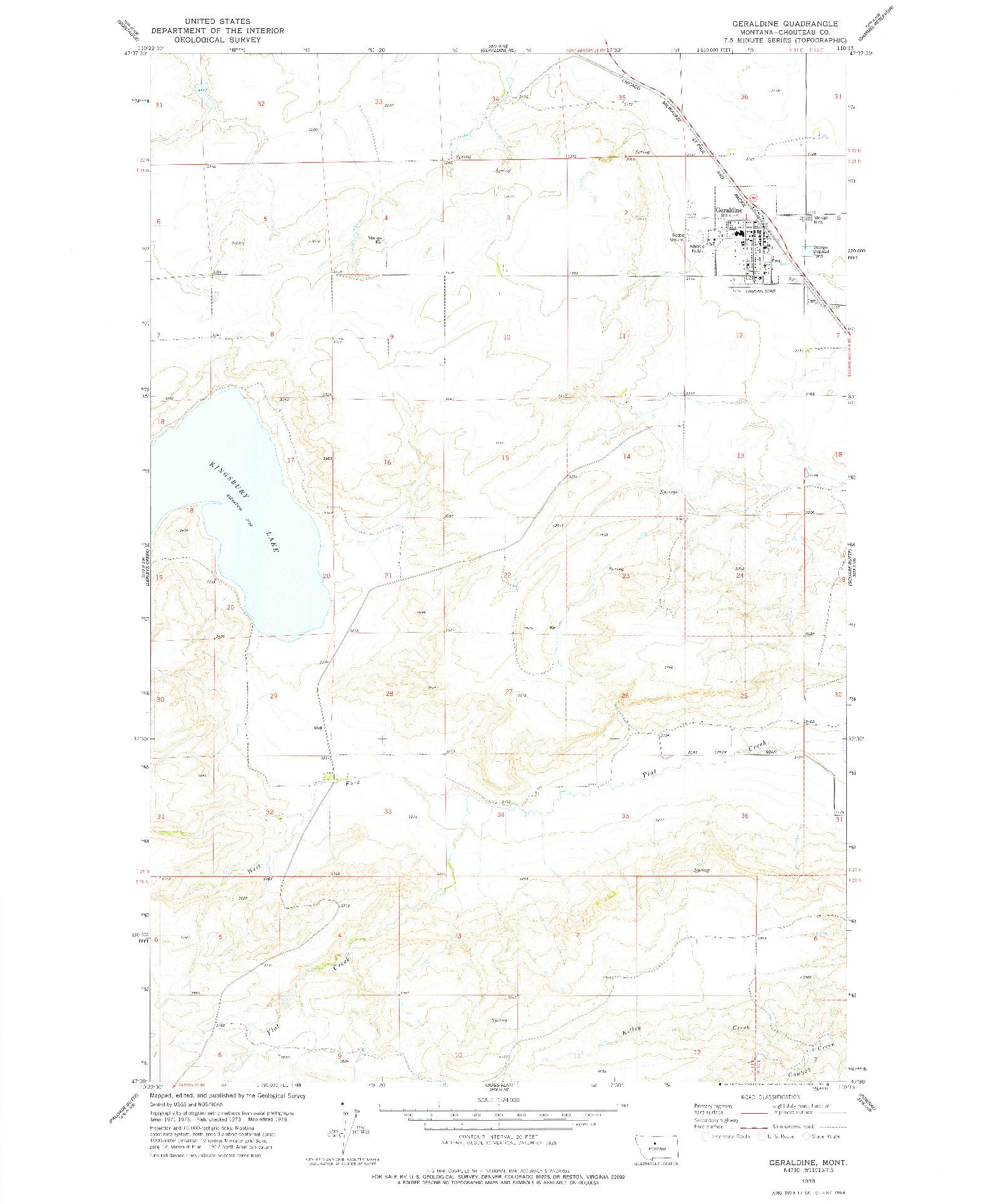 USGS 1:24000-SCALE QUADRANGLE FOR GERALDINE, MT 1978