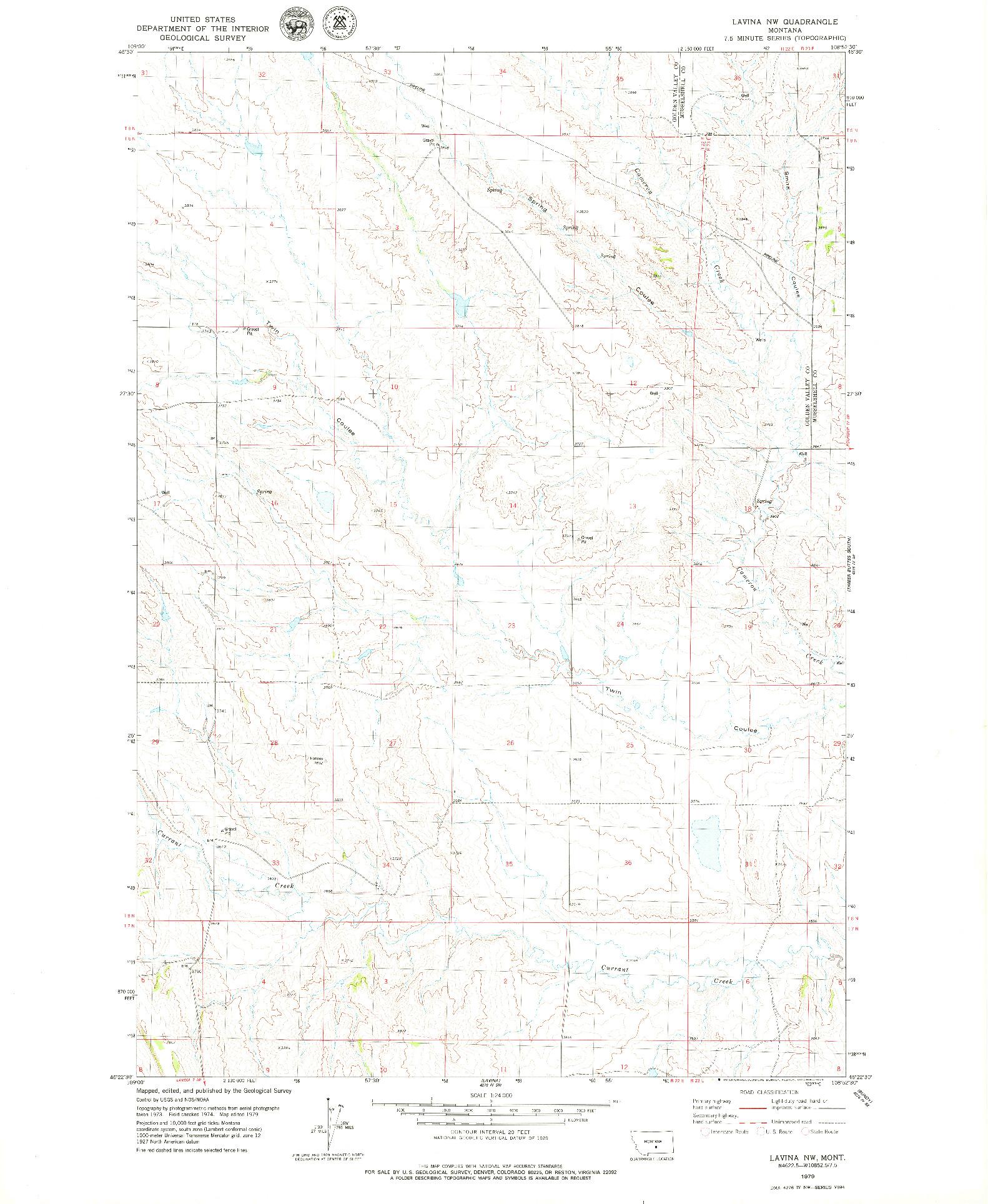 USGS 1:24000-SCALE QUADRANGLE FOR LAVINA NW, MT 1979