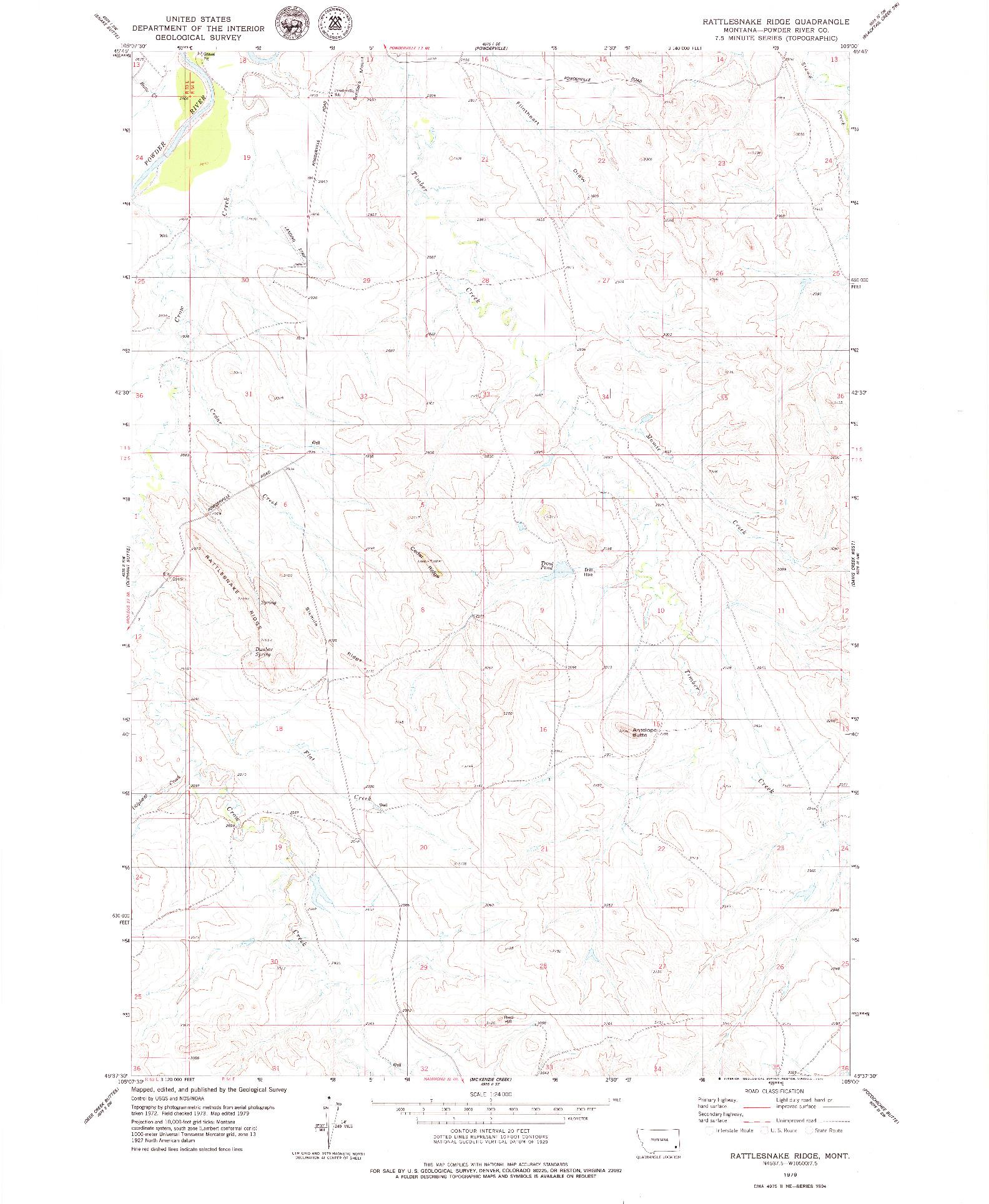 USGS 1:24000-SCALE QUADRANGLE FOR RATTLESNAKE RIDGE, MT 1979