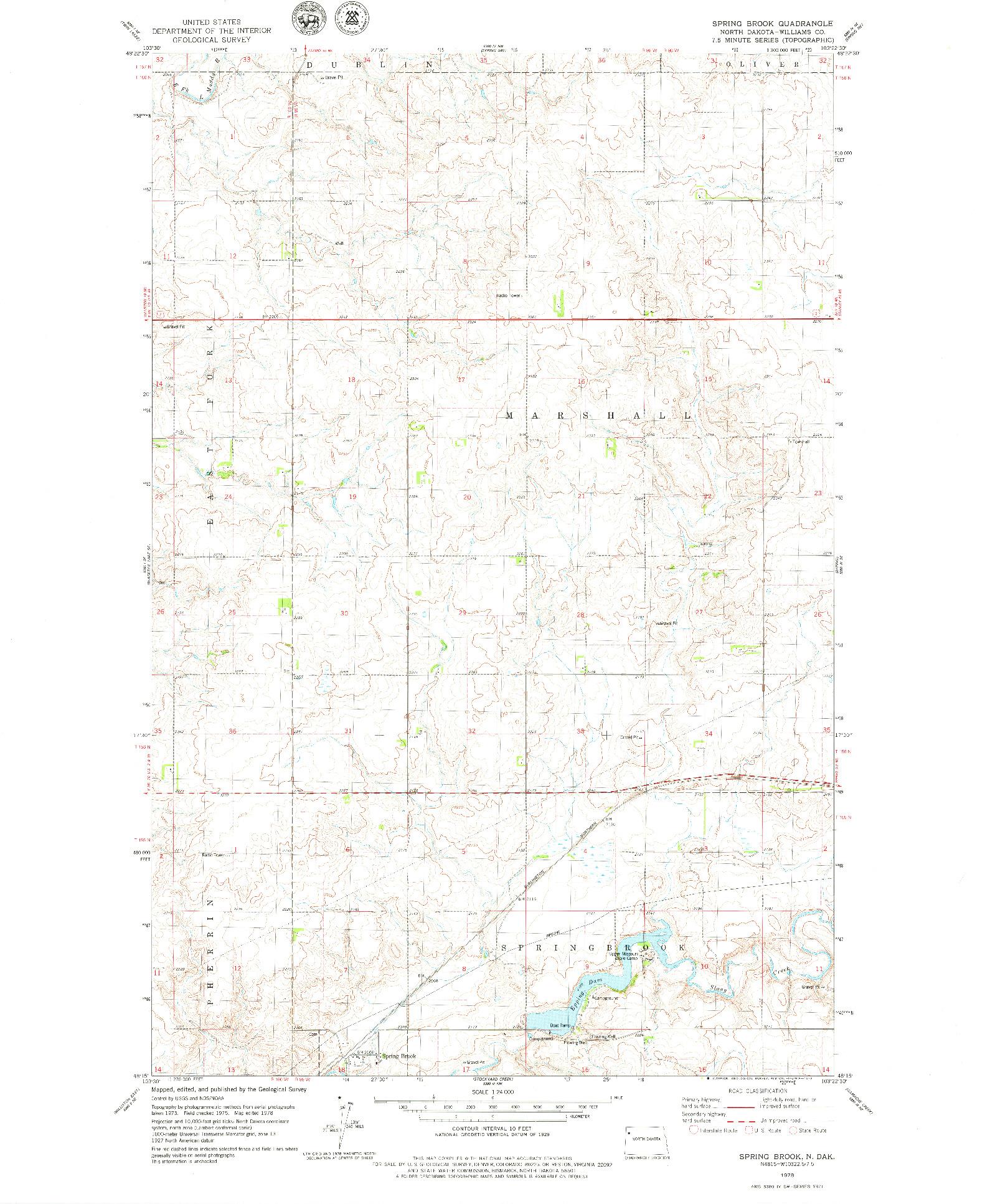 USGS 1:24000-SCALE QUADRANGLE FOR SPRING BROOK, ND 1978