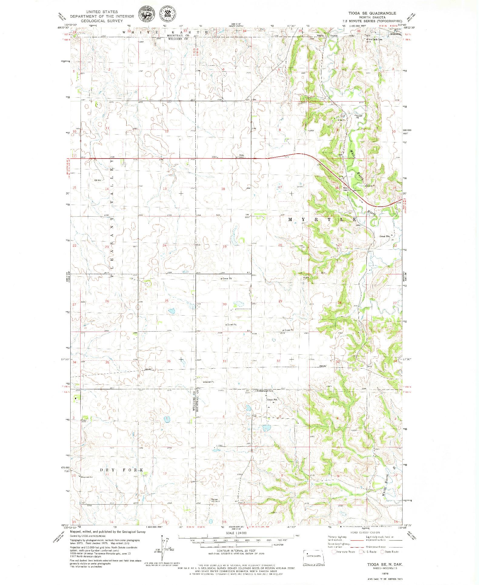 USGS 1:24000-SCALE QUADRANGLE FOR TIOGA SE, ND 1979