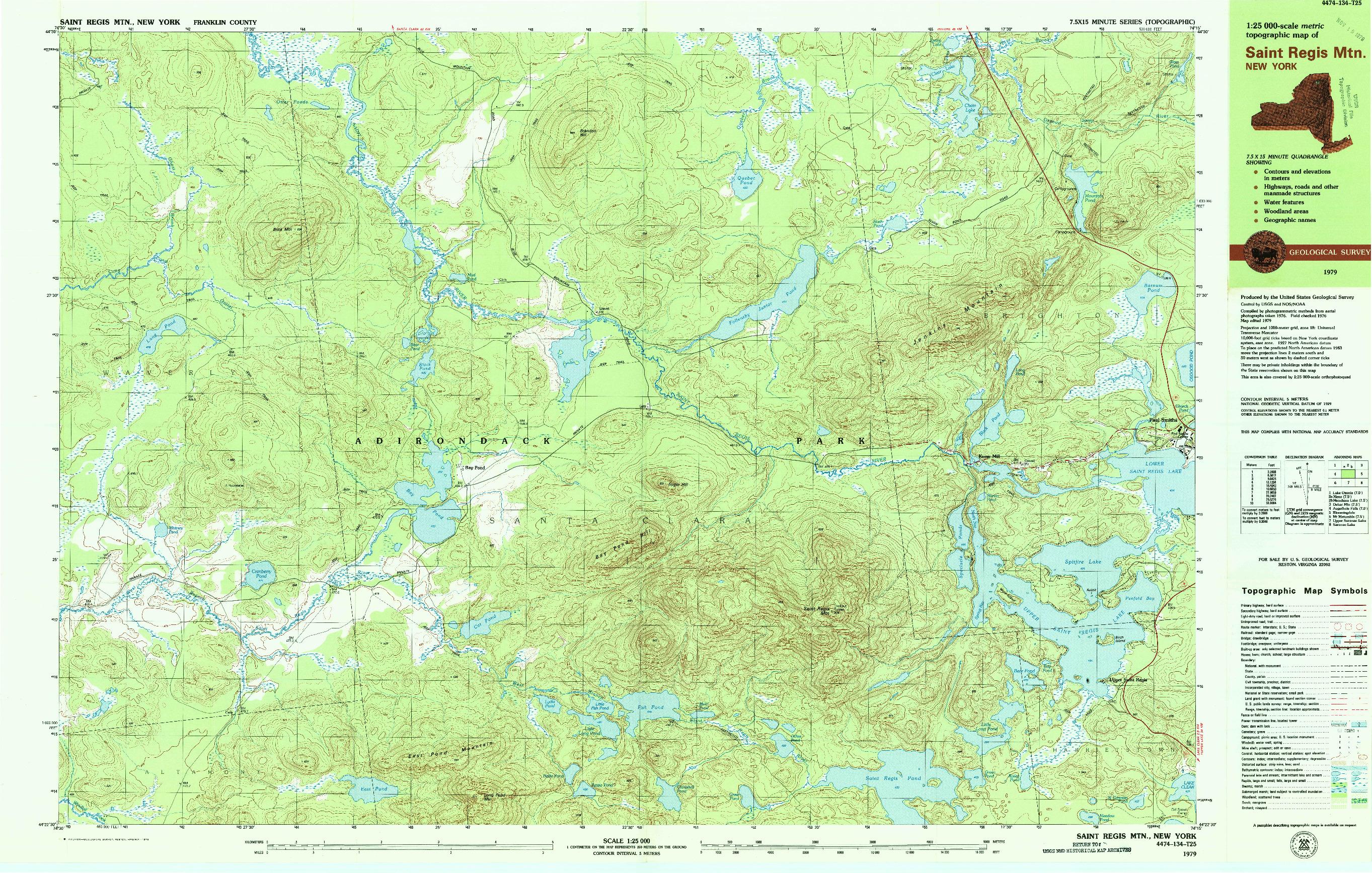 USGS 1:25000-SCALE QUADRANGLE FOR SAINT REGIS MTN, NY 1979