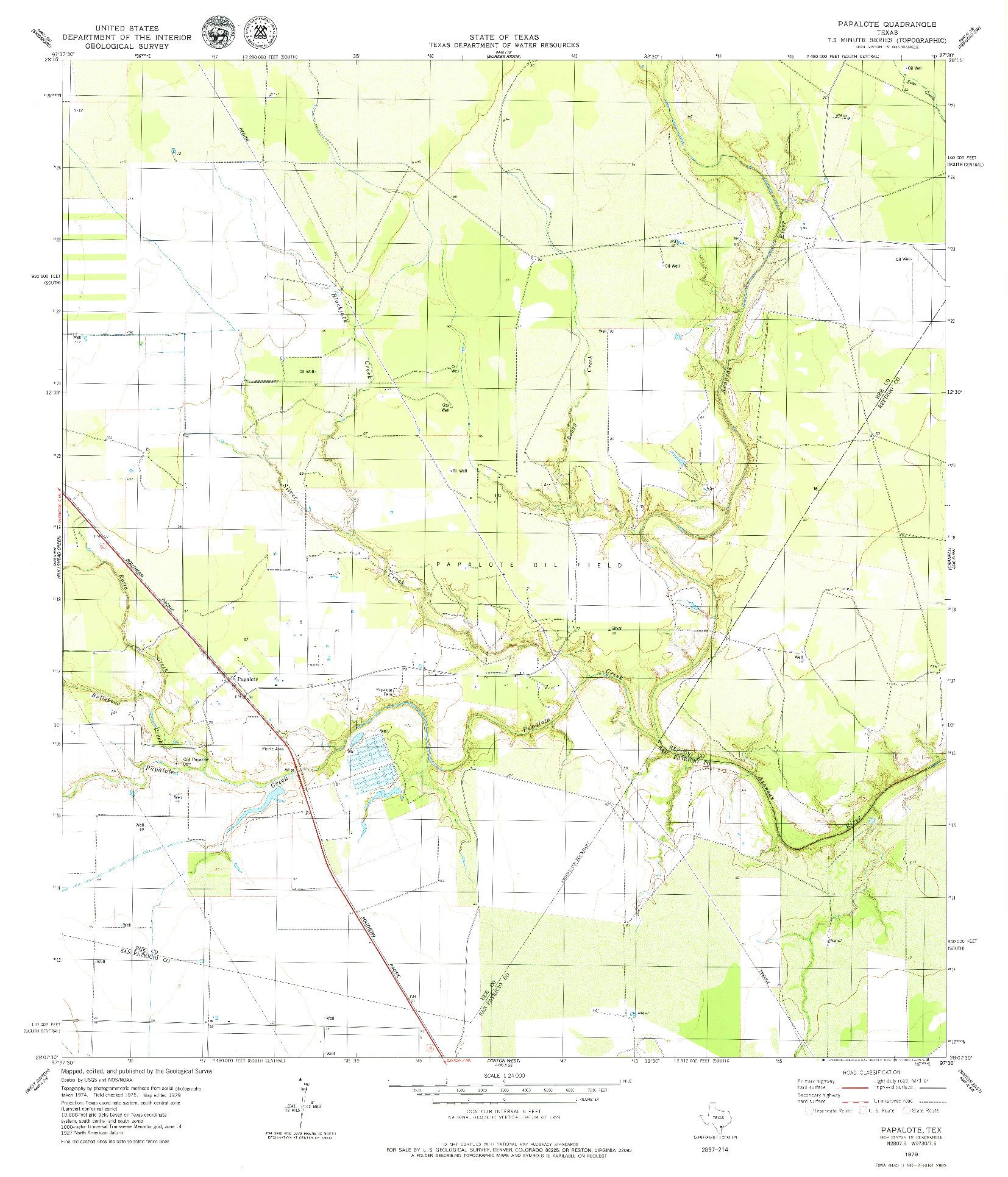 USGS 1:24000-SCALE QUADRANGLE FOR PAPALOTE, TX 1979