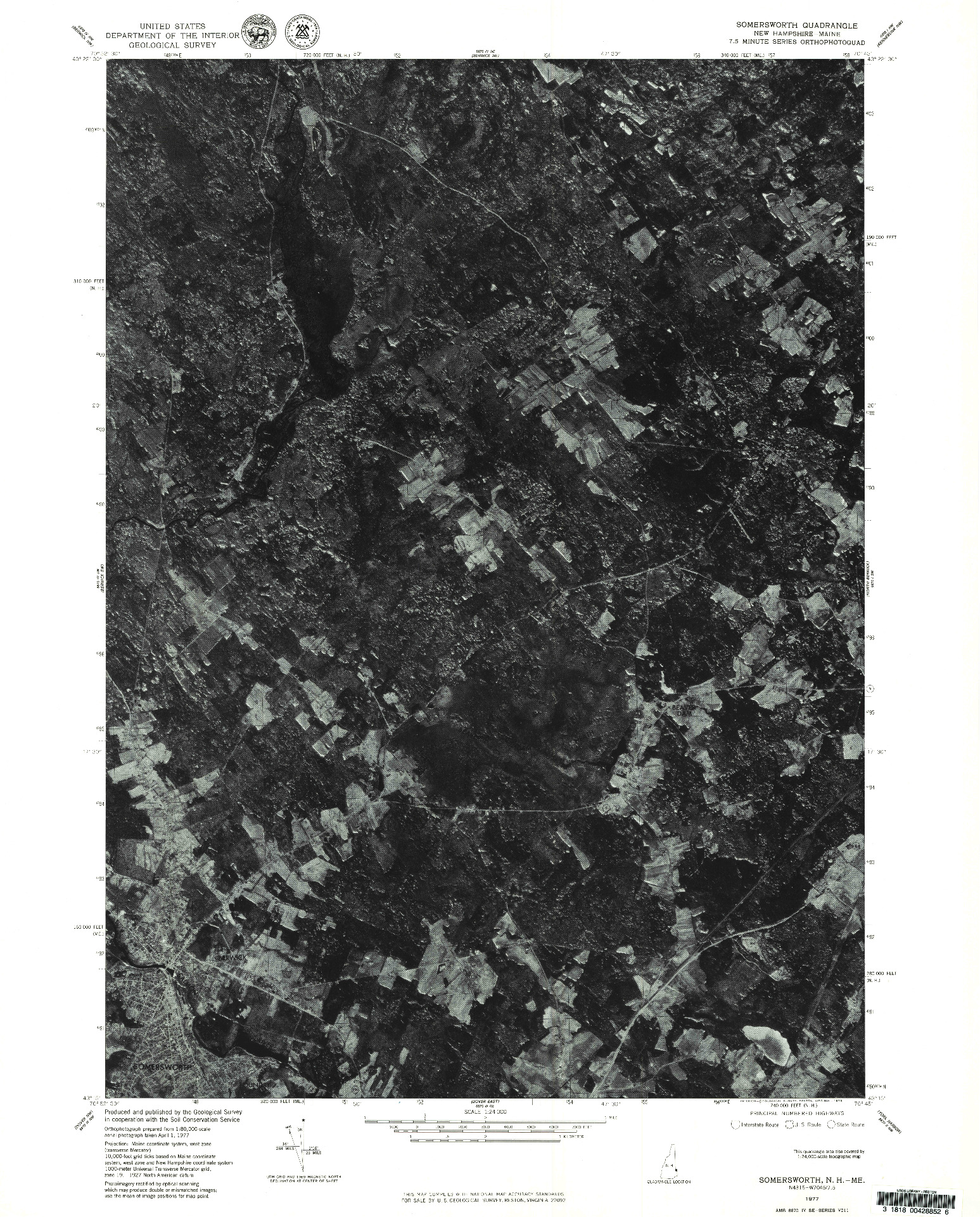 USGS 1:24000-SCALE QUADRANGLE FOR SOMERSWORTH, NH 1977