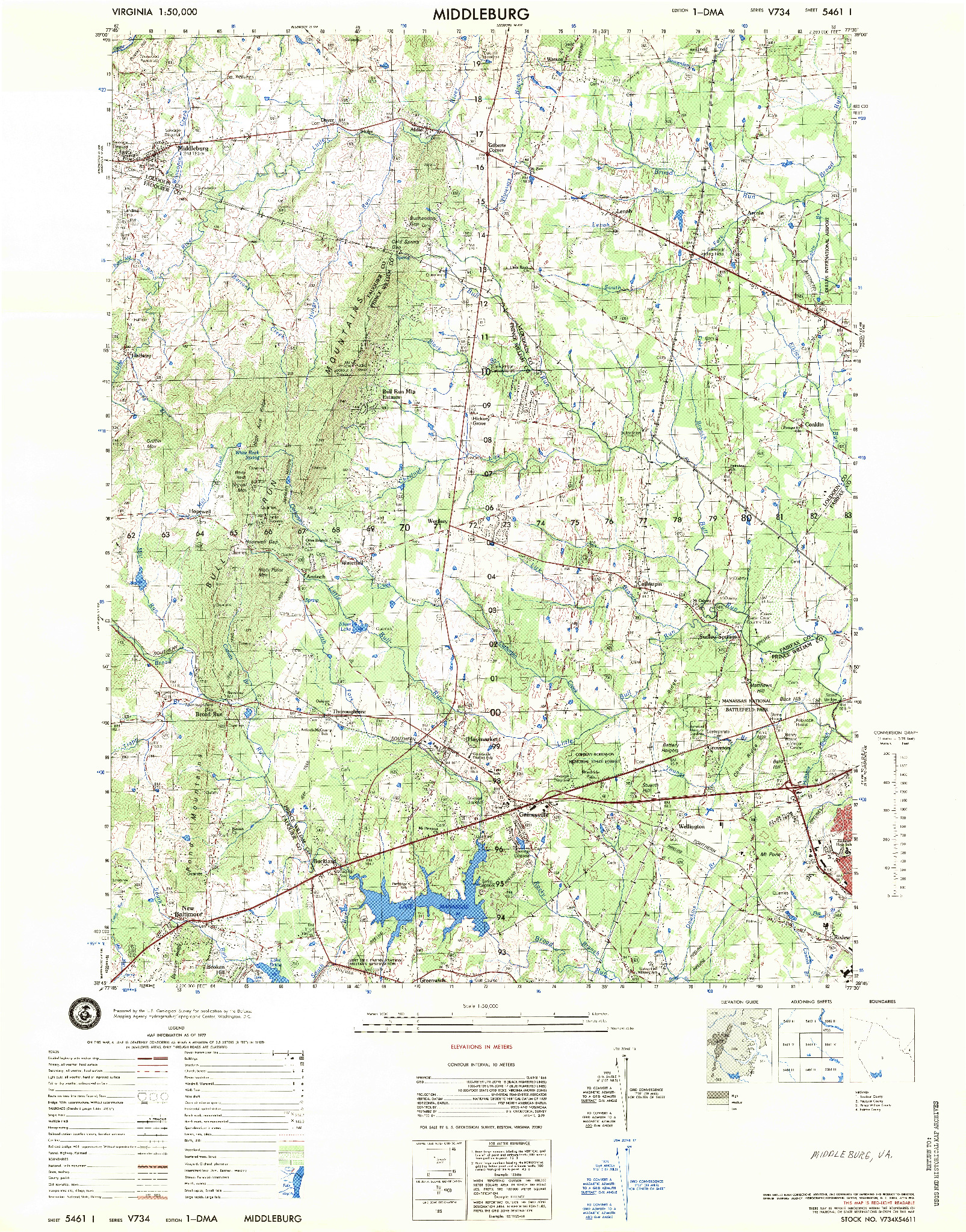USGS 1:50000-SCALE QUADRANGLE FOR MIDDLEBURG, VA 1977