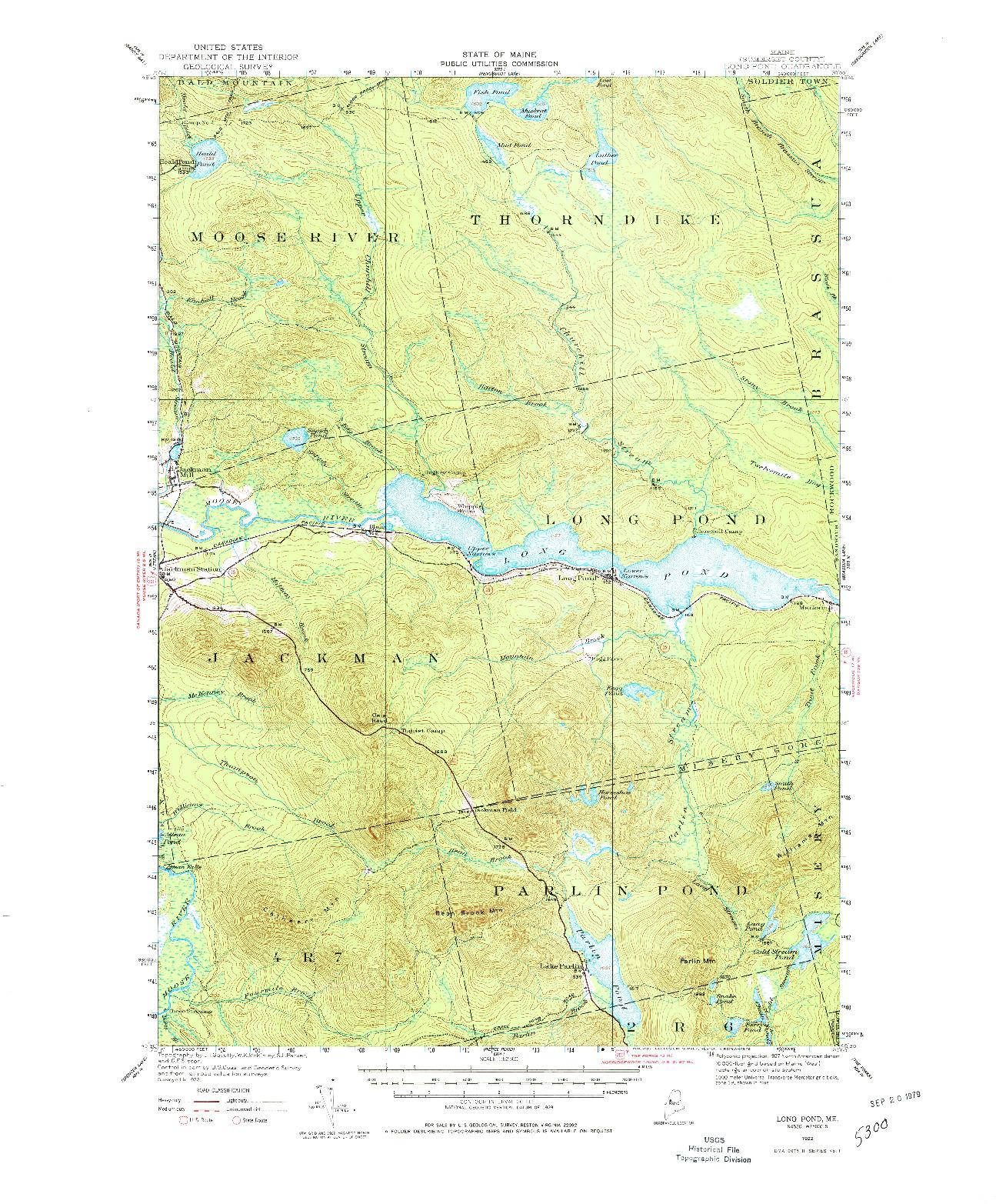 USGS 1:62500-SCALE QUADRANGLE FOR LONG POND, ME 1922