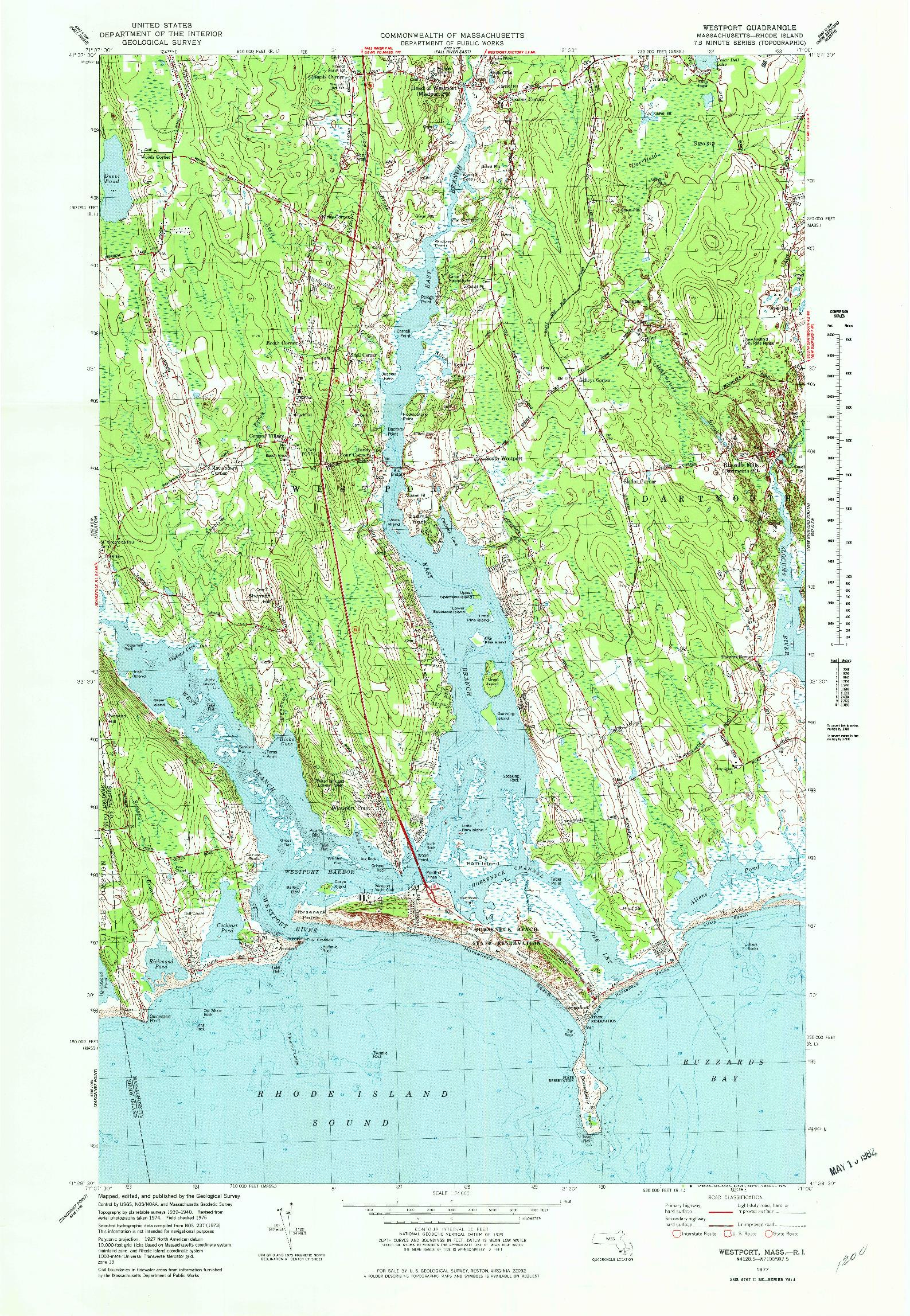 USGS 1:24000-SCALE QUADRANGLE FOR WESTPORT, MA 1977