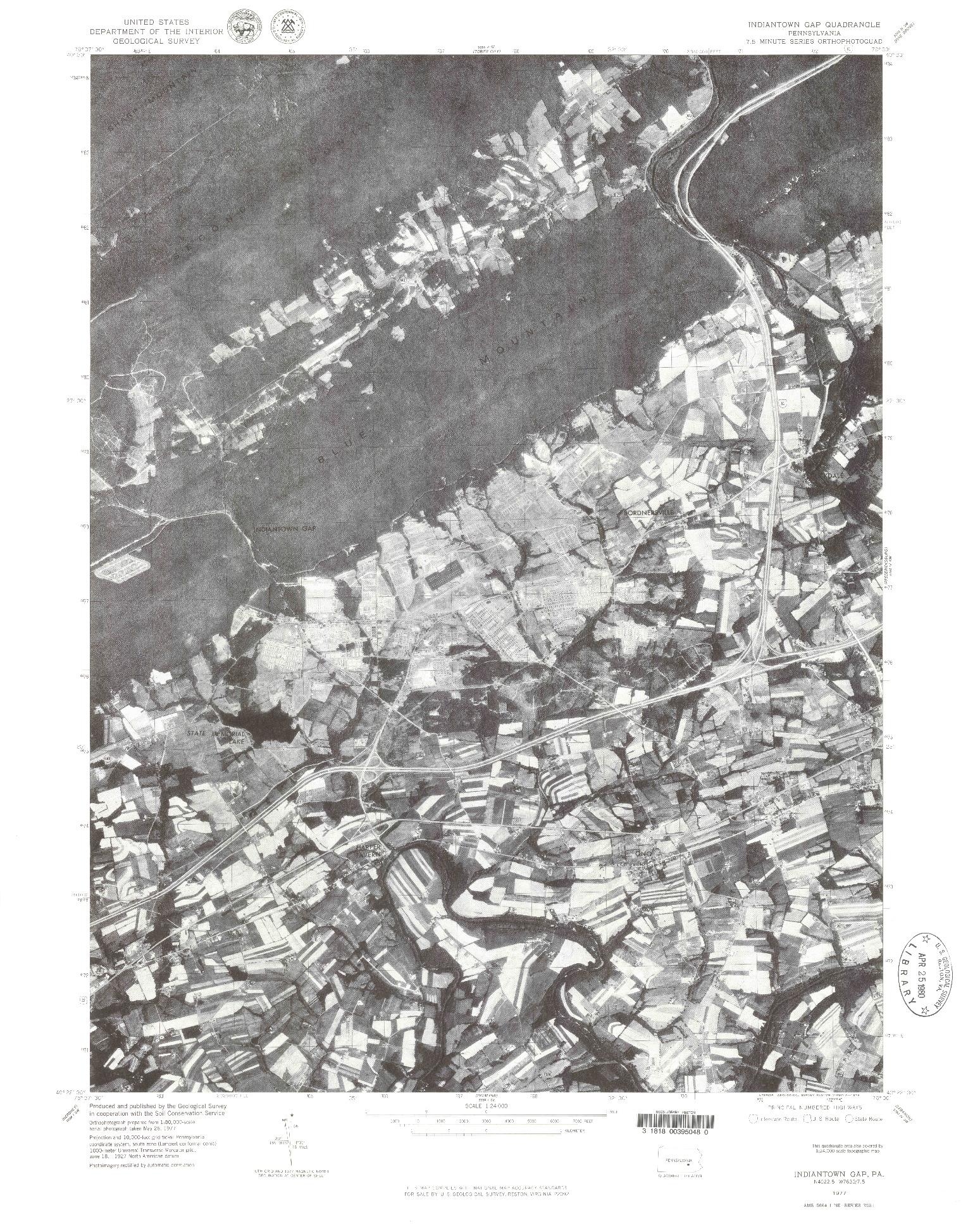 USGS 1:24000-SCALE QUADRANGLE FOR INDIANTOWN GAP, PA 1977
