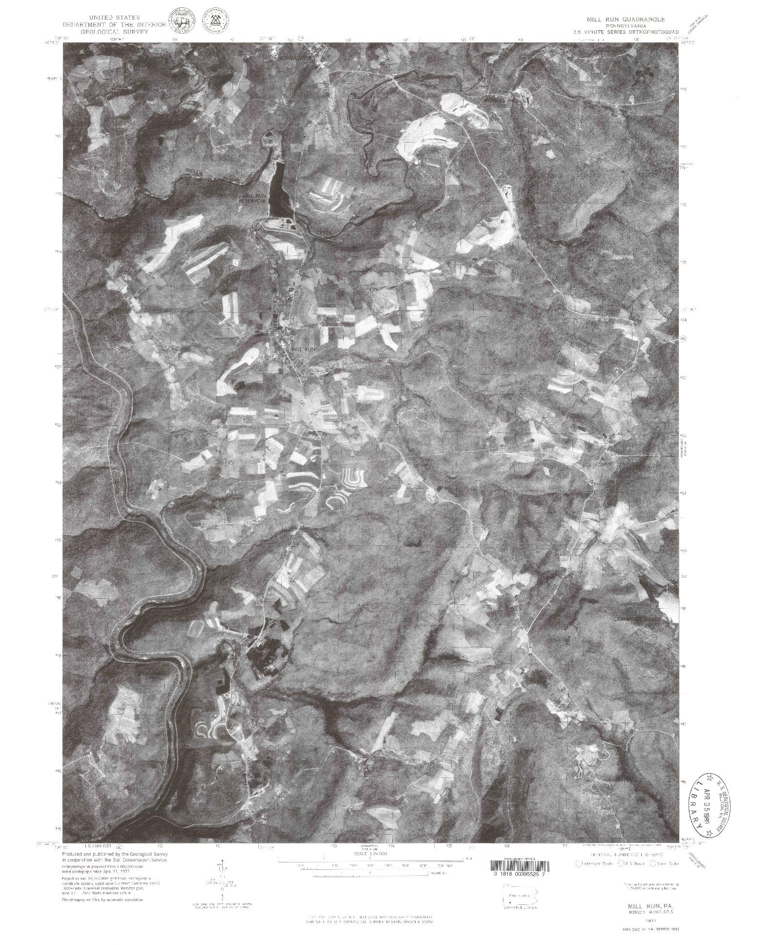 USGS 1:24000-SCALE QUADRANGLE FOR MILL RUN, PA 1977