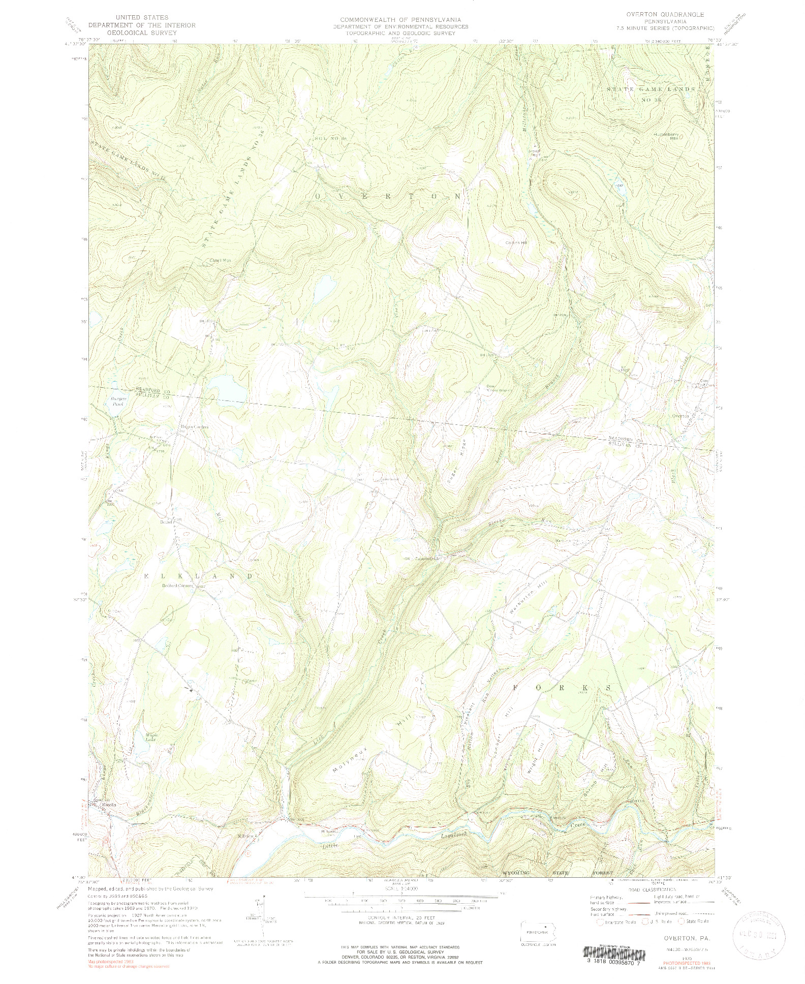 USGS 1:24000-SCALE QUADRANGLE FOR OVERTON, PA 1970
