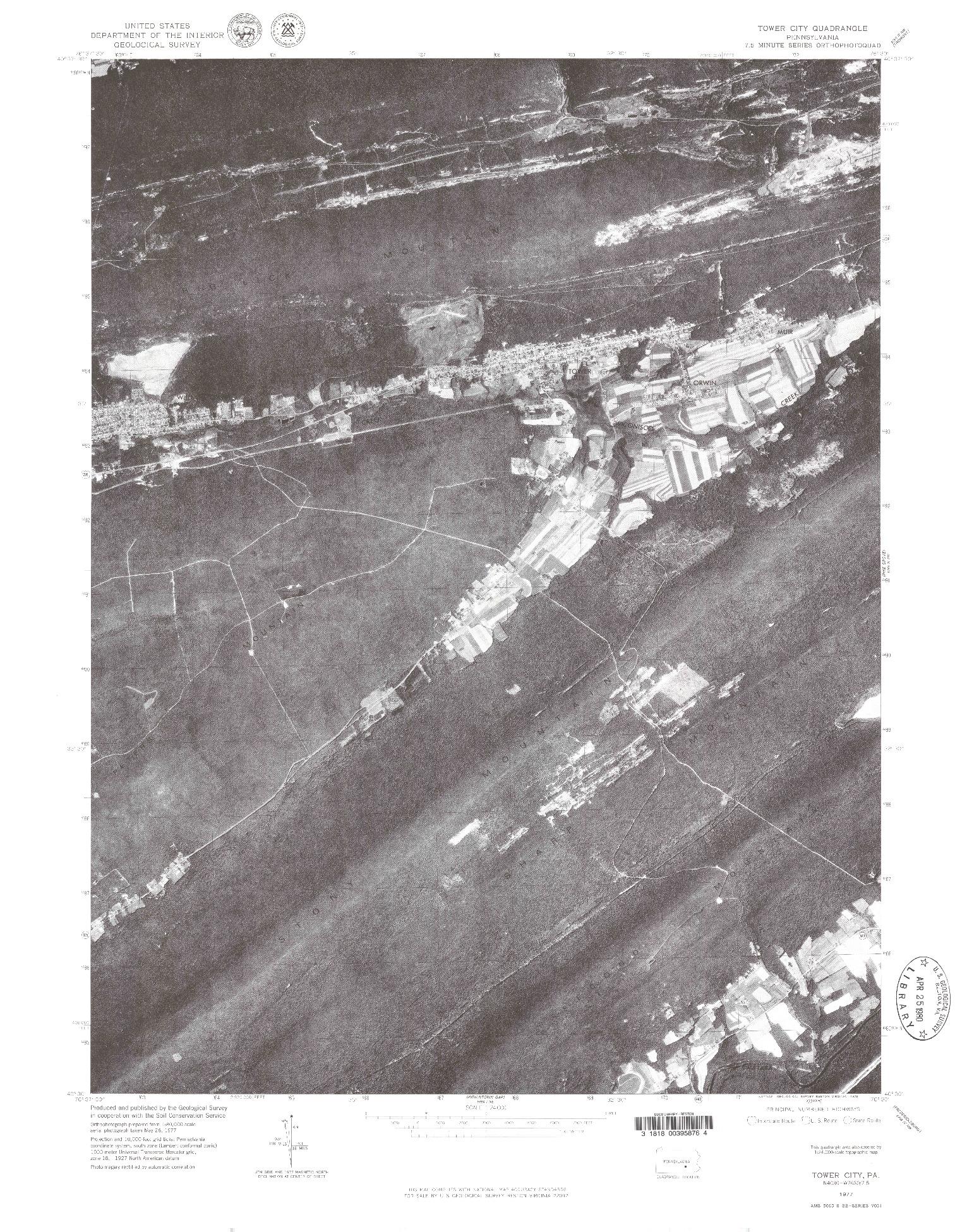 USGS 1:24000-SCALE QUADRANGLE FOR TOWER CITY, PA 1977