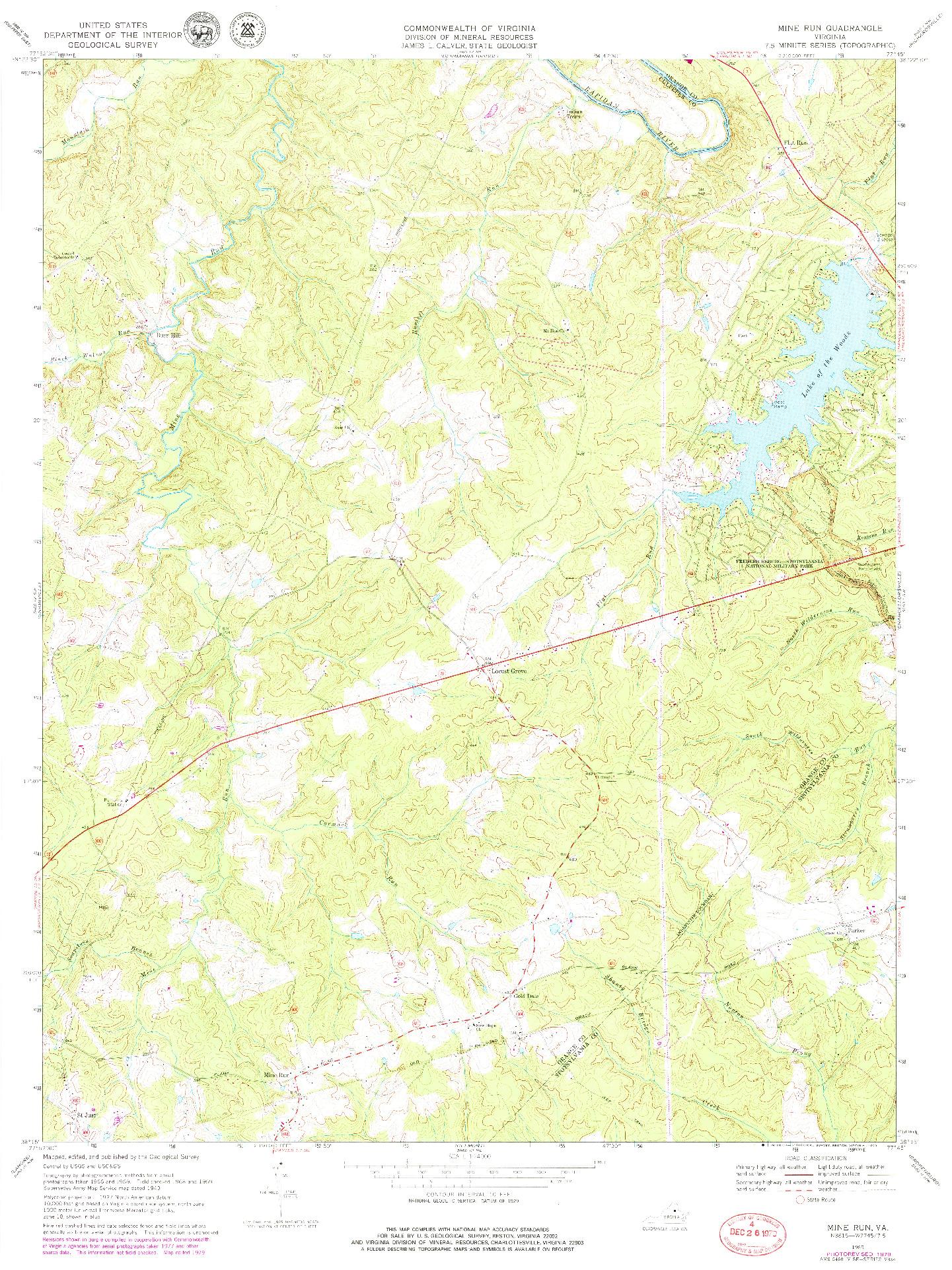USGS 1:24000-SCALE QUADRANGLE FOR MINE RUN, VA 1969