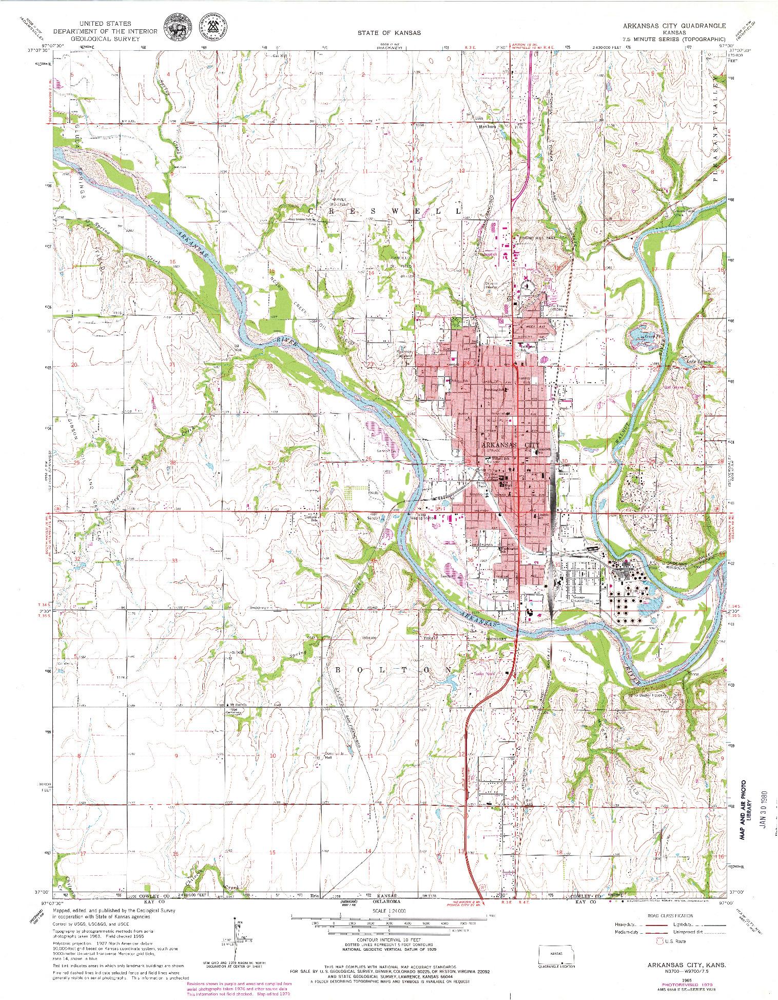 USGS 1:24000-SCALE QUADRANGLE FOR ARKANSAS CITY, KS 1965