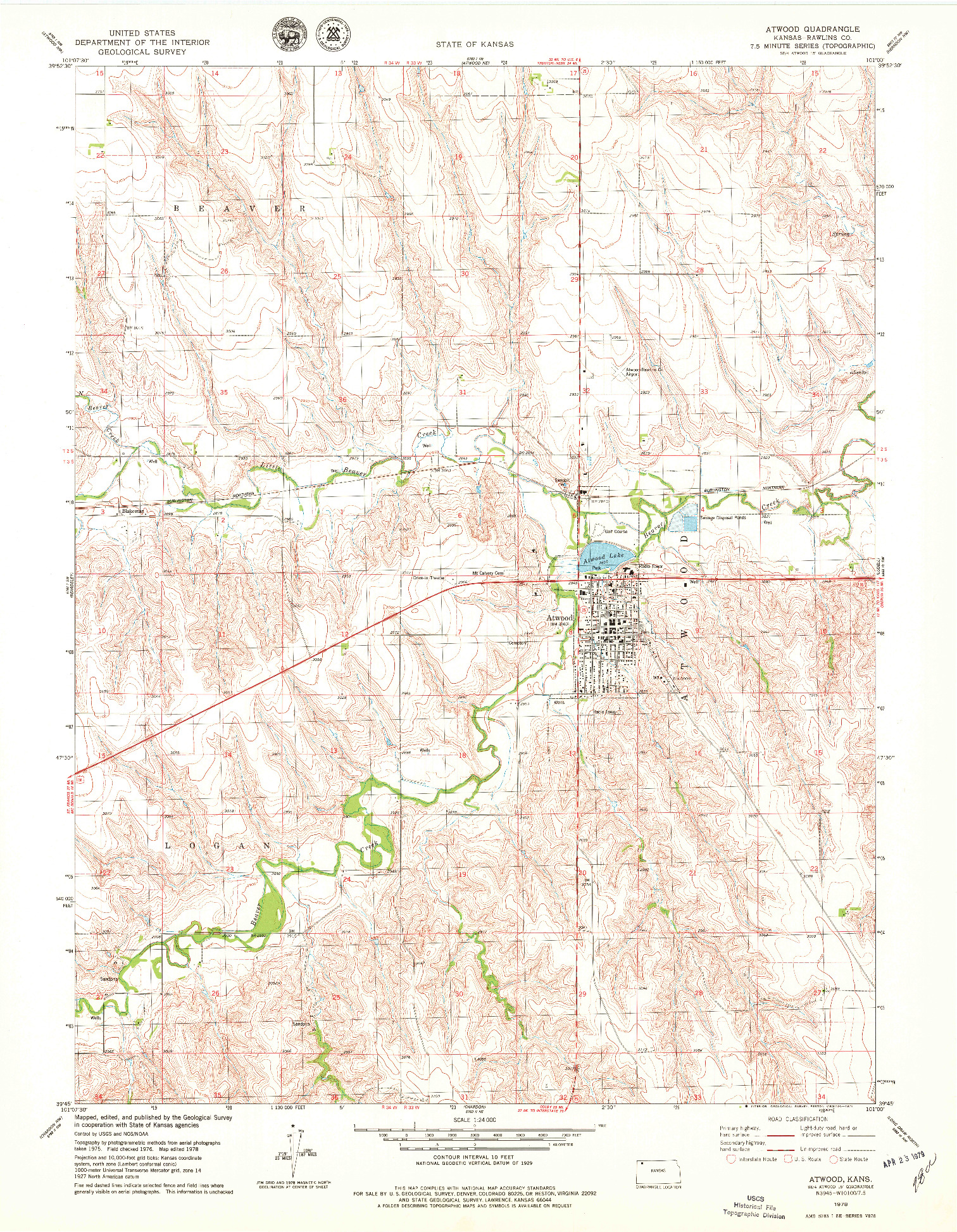 USGS 1:24000-SCALE QUADRANGLE FOR ATWOOD, KS 1978