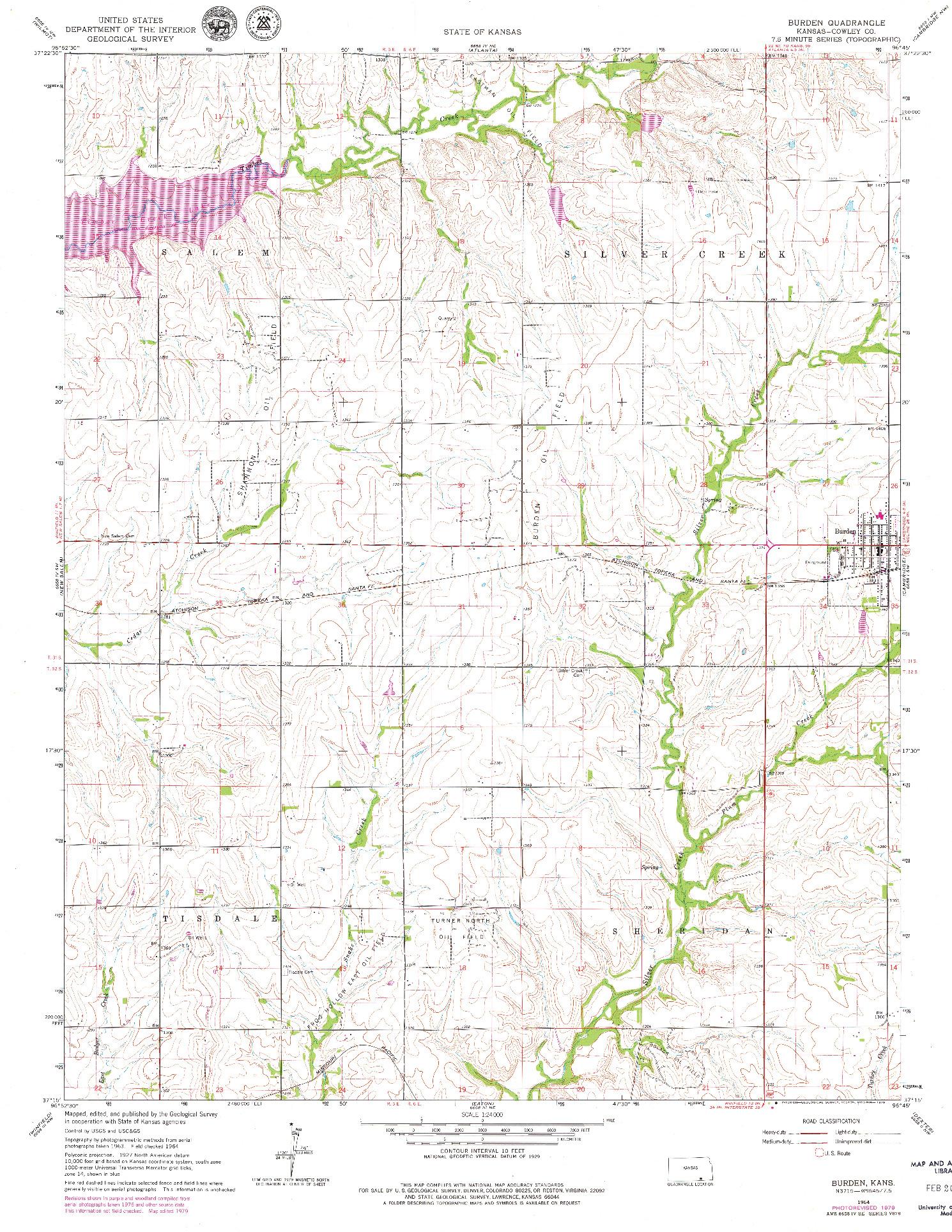 USGS 1:24000-SCALE QUADRANGLE FOR BURDEN, KS 1964
