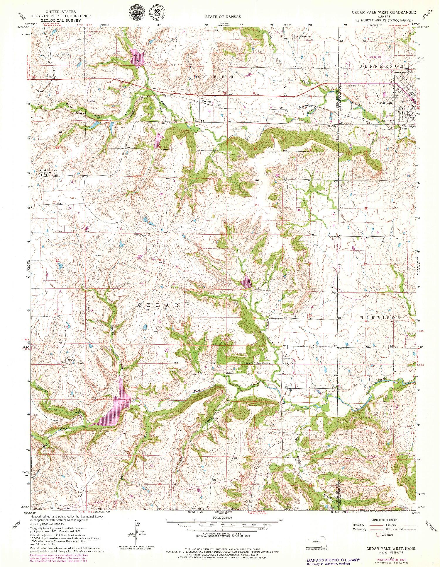 USGS 1:24000-SCALE QUADRANGLE FOR CEDAR VALE WEST, KS 1962