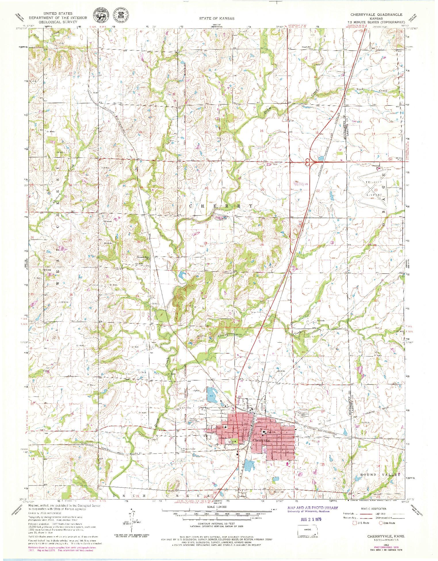 USGS 1:24000-SCALE QUADRANGLE FOR CHERRYVALE, KS 1962