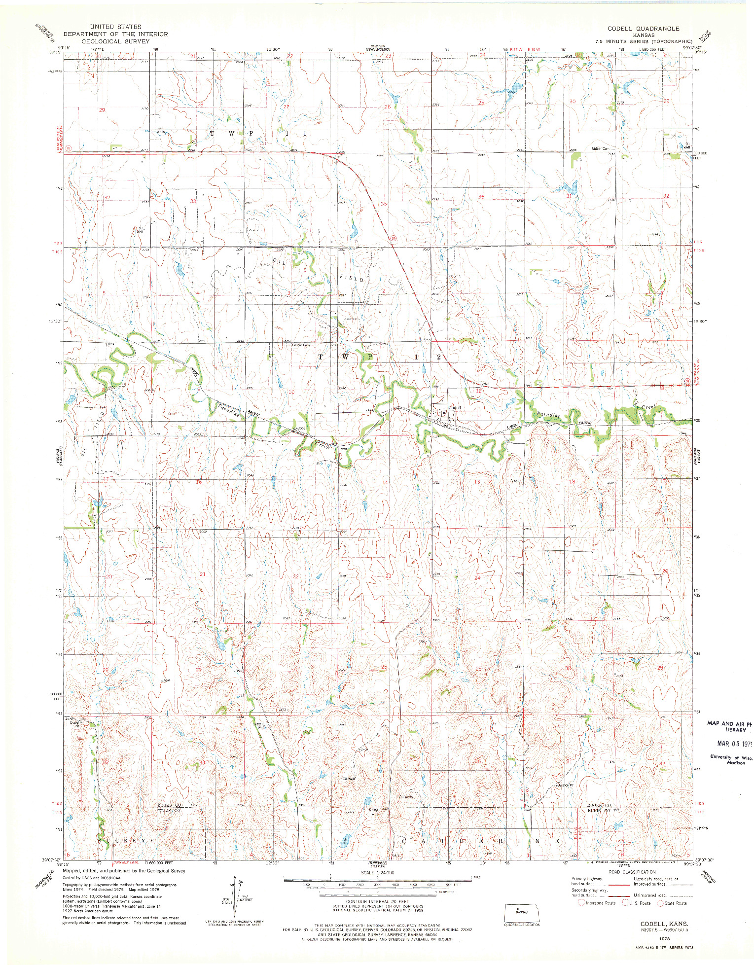 USGS 1:24000-SCALE QUADRANGLE FOR CODELL, KS 1978