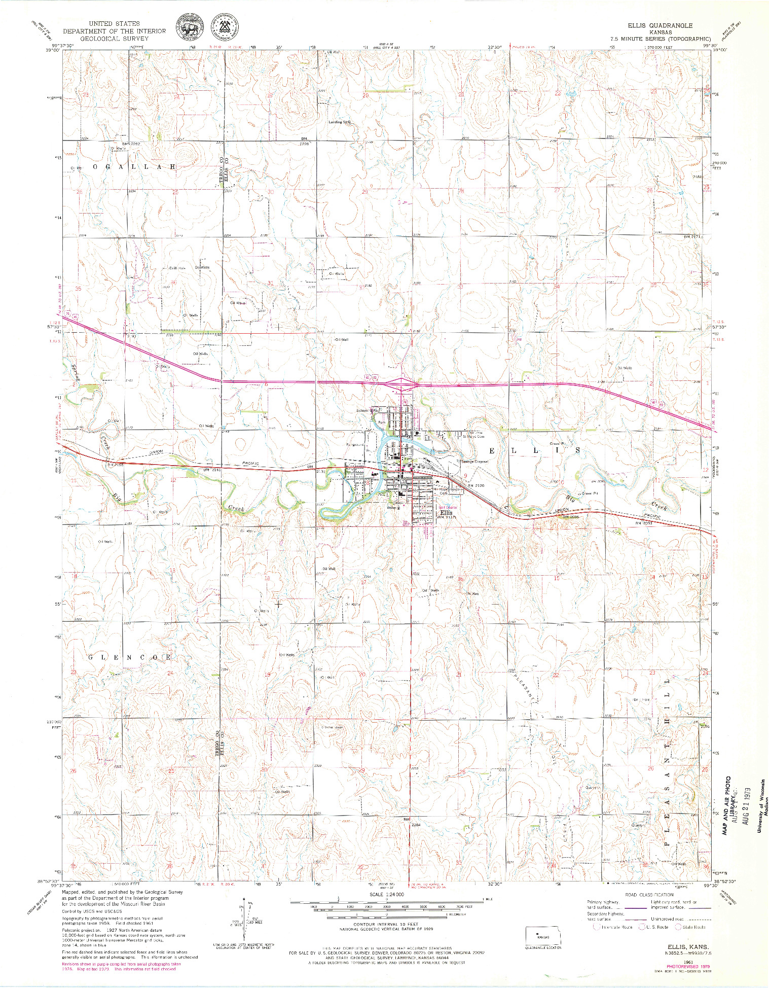 USGS 1:24000-SCALE QUADRANGLE FOR ELLIS, KS 1961