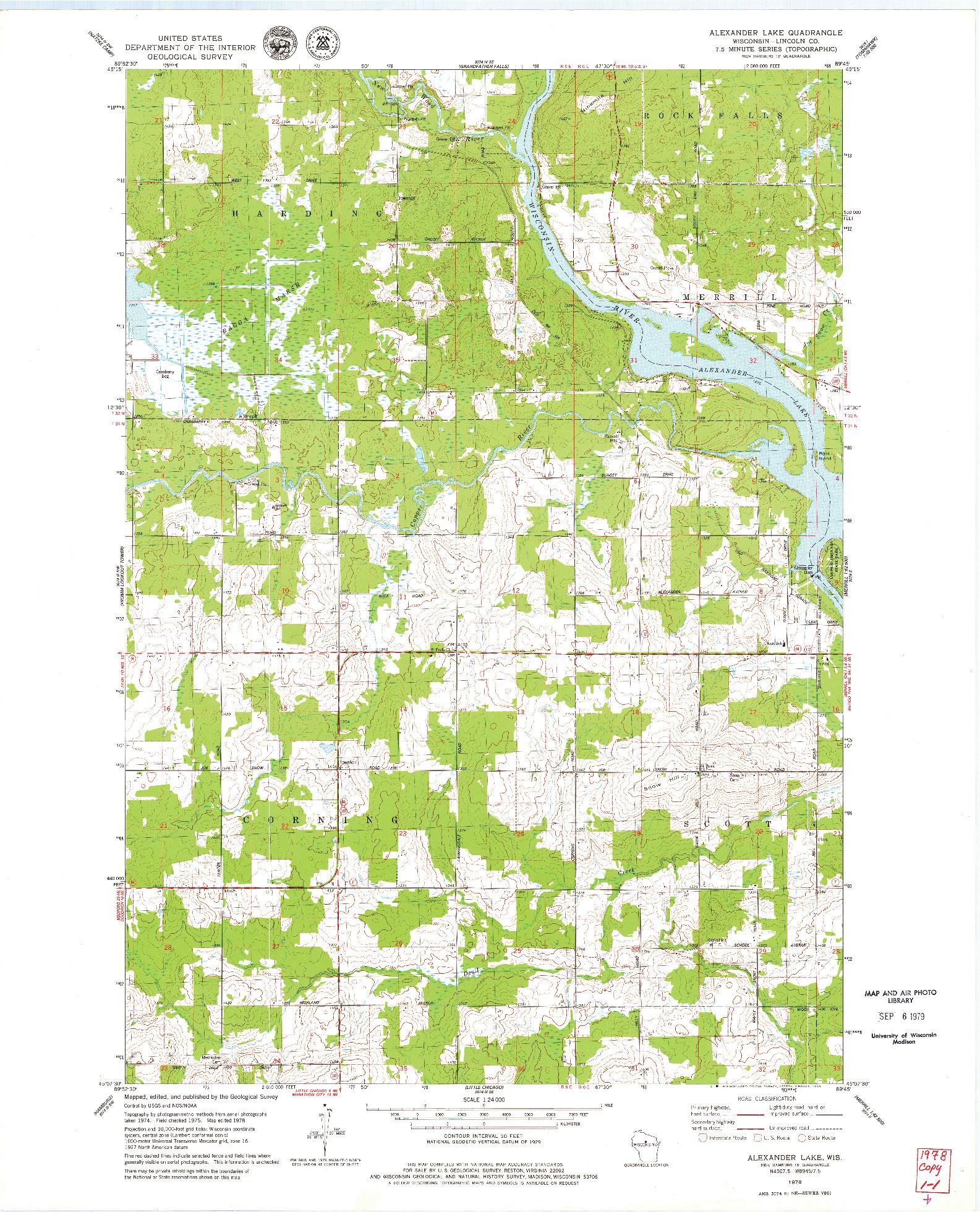 USGS 1:24000-SCALE QUADRANGLE FOR ALEXANDER LAKE, WI 1978
