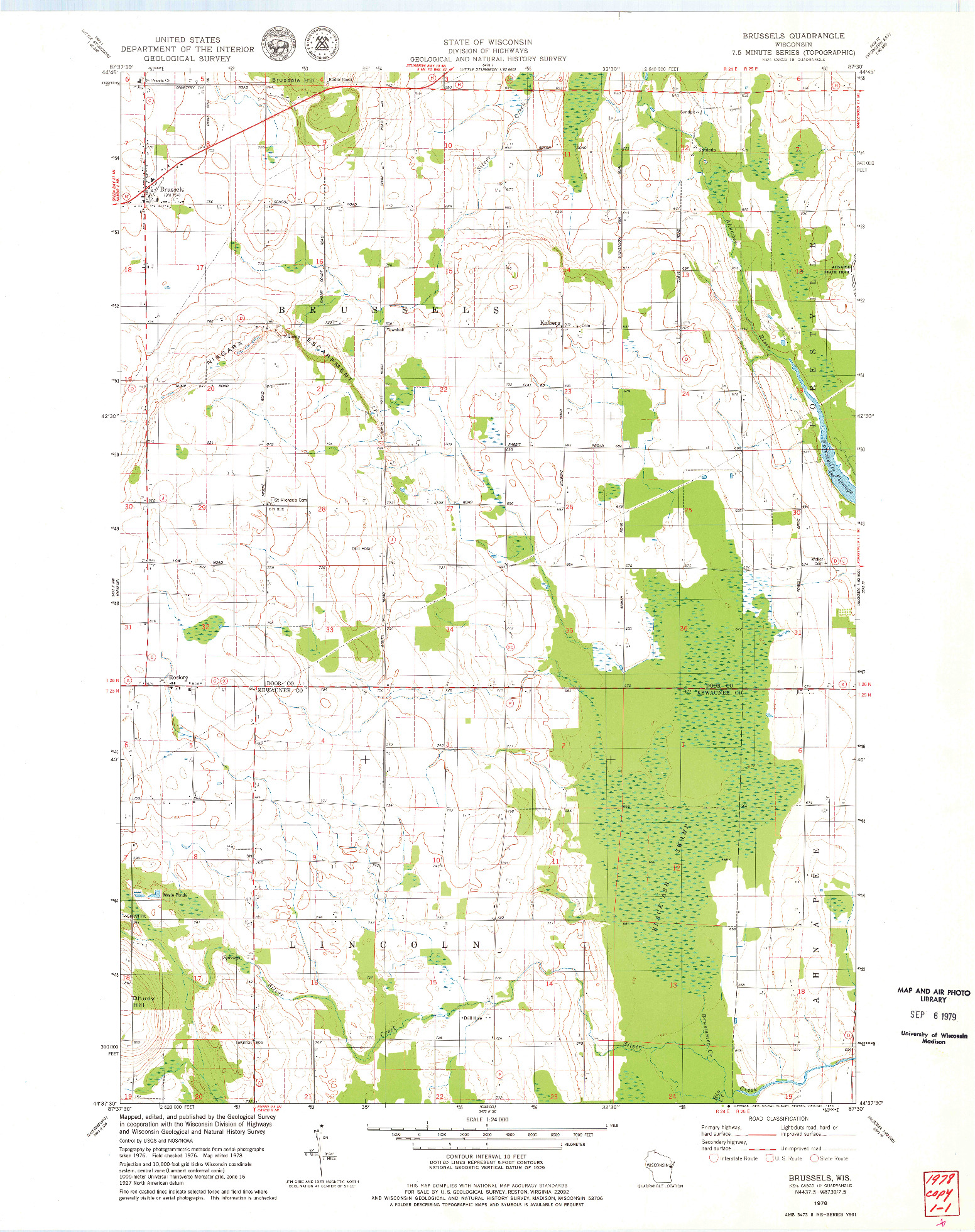 USGS 1:24000-SCALE QUADRANGLE FOR BRUSSELS, WI 1978