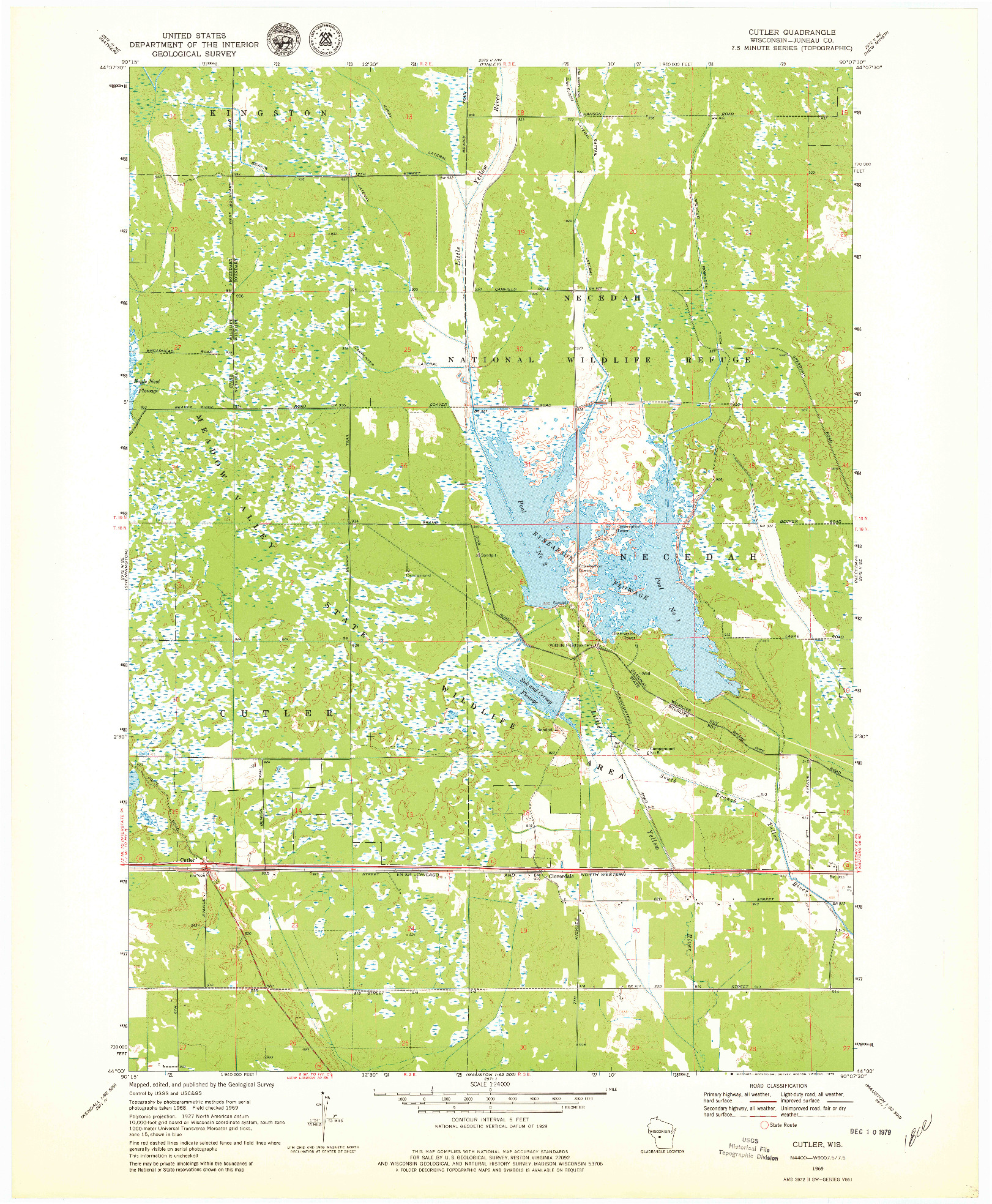USGS 1:24000-SCALE QUADRANGLE FOR CUTLER, WI 1969