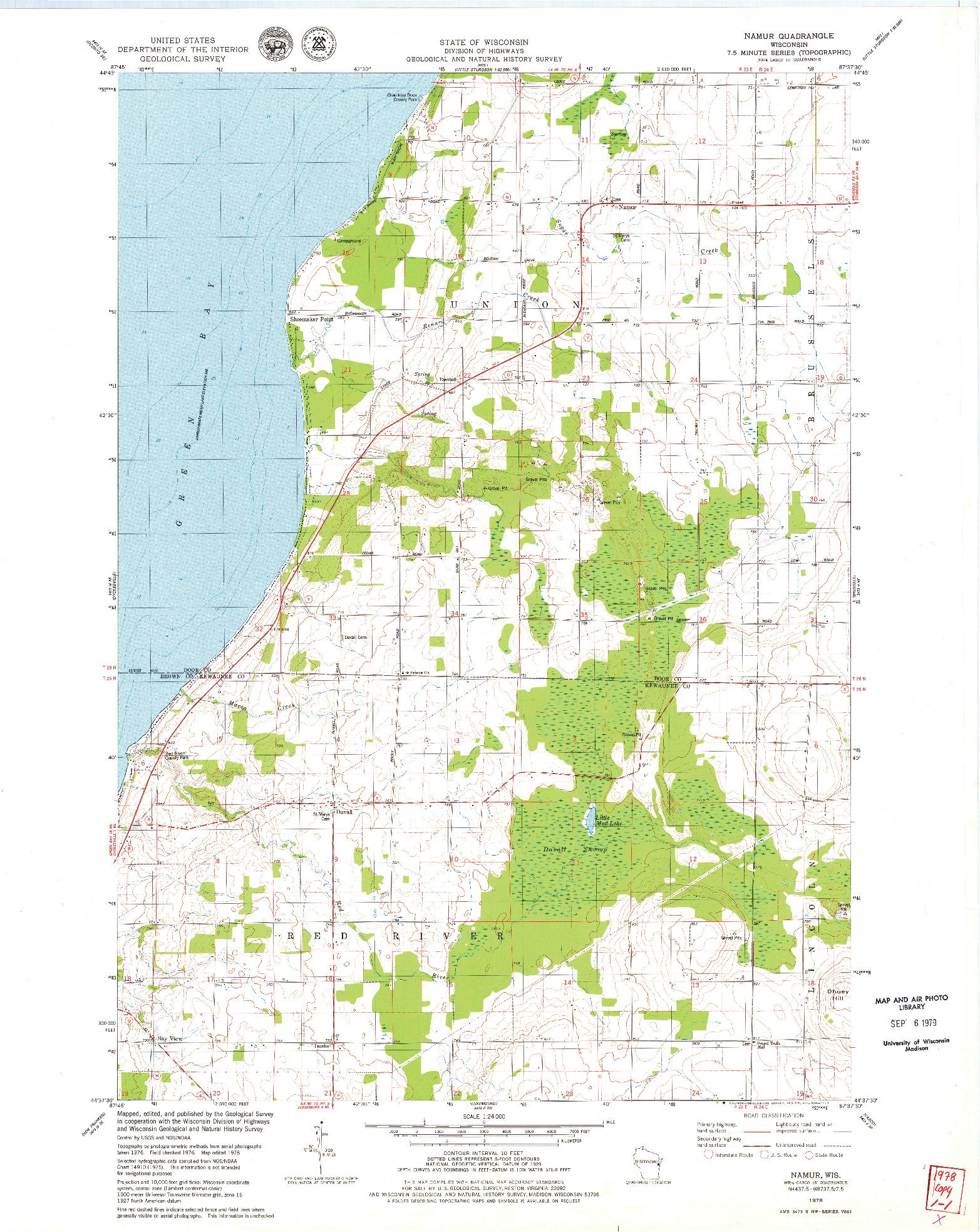USGS 1:24000-SCALE QUADRANGLE FOR NAMUR, WI 1978