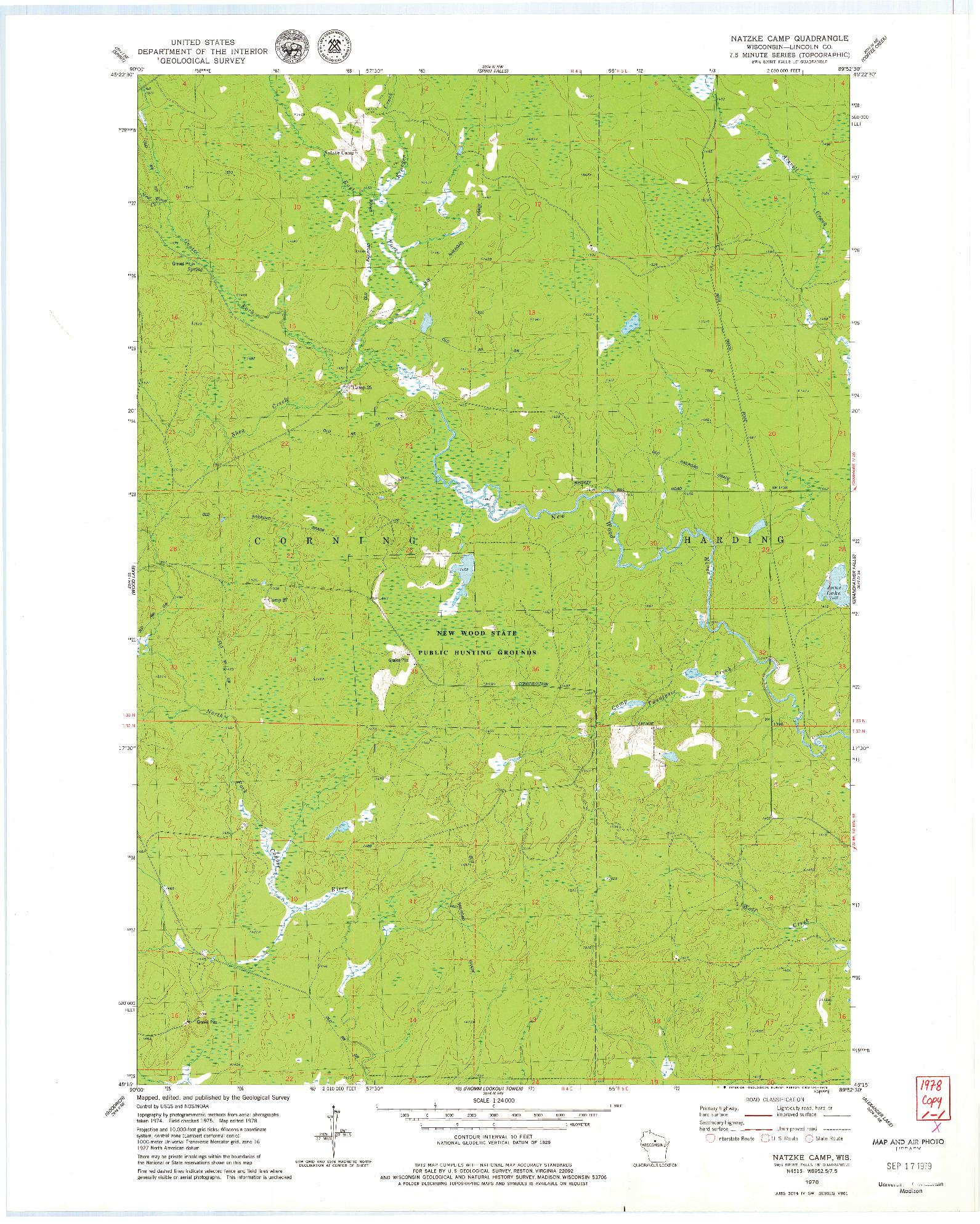 USGS 1:24000-SCALE QUADRANGLE FOR NATZKE CAMP, WI 1978