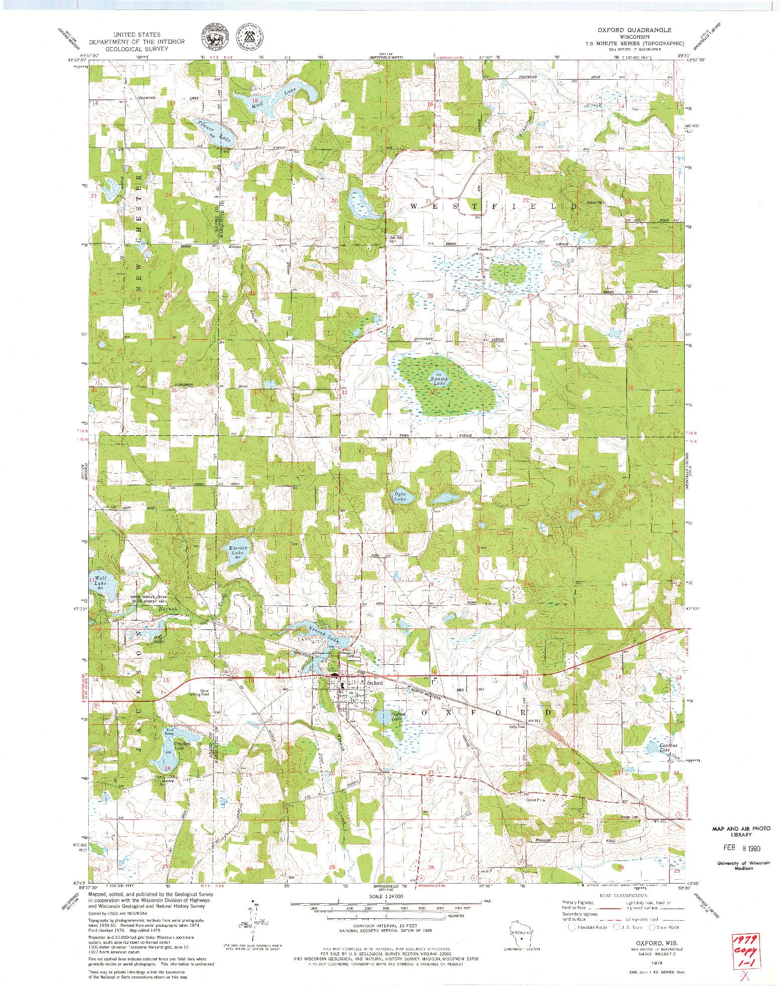 USGS 1:24000-SCALE QUADRANGLE FOR OXFORD, WI 1979