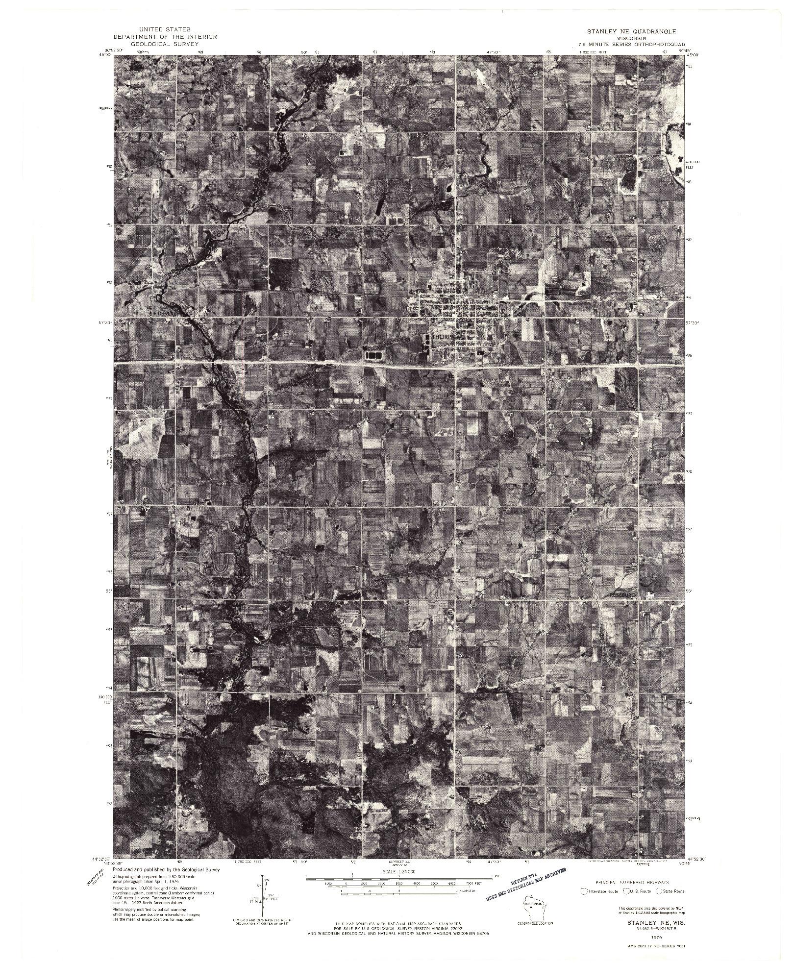 USGS 1:24000-SCALE QUADRANGLE FOR STANLEY NE, WI 1976