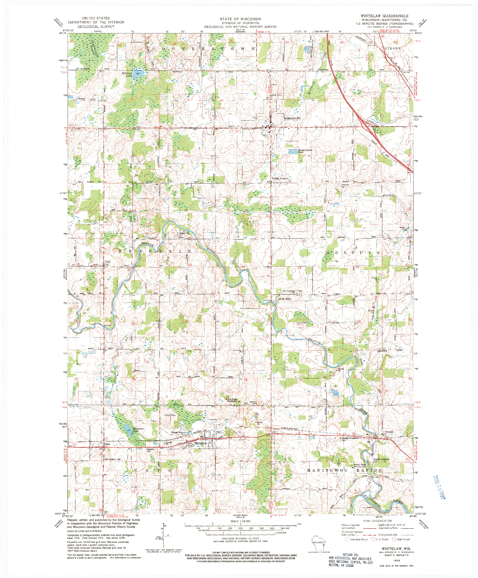 USGS 1:24000-SCALE QUADRANGLE FOR WHITELAW, WI 1978