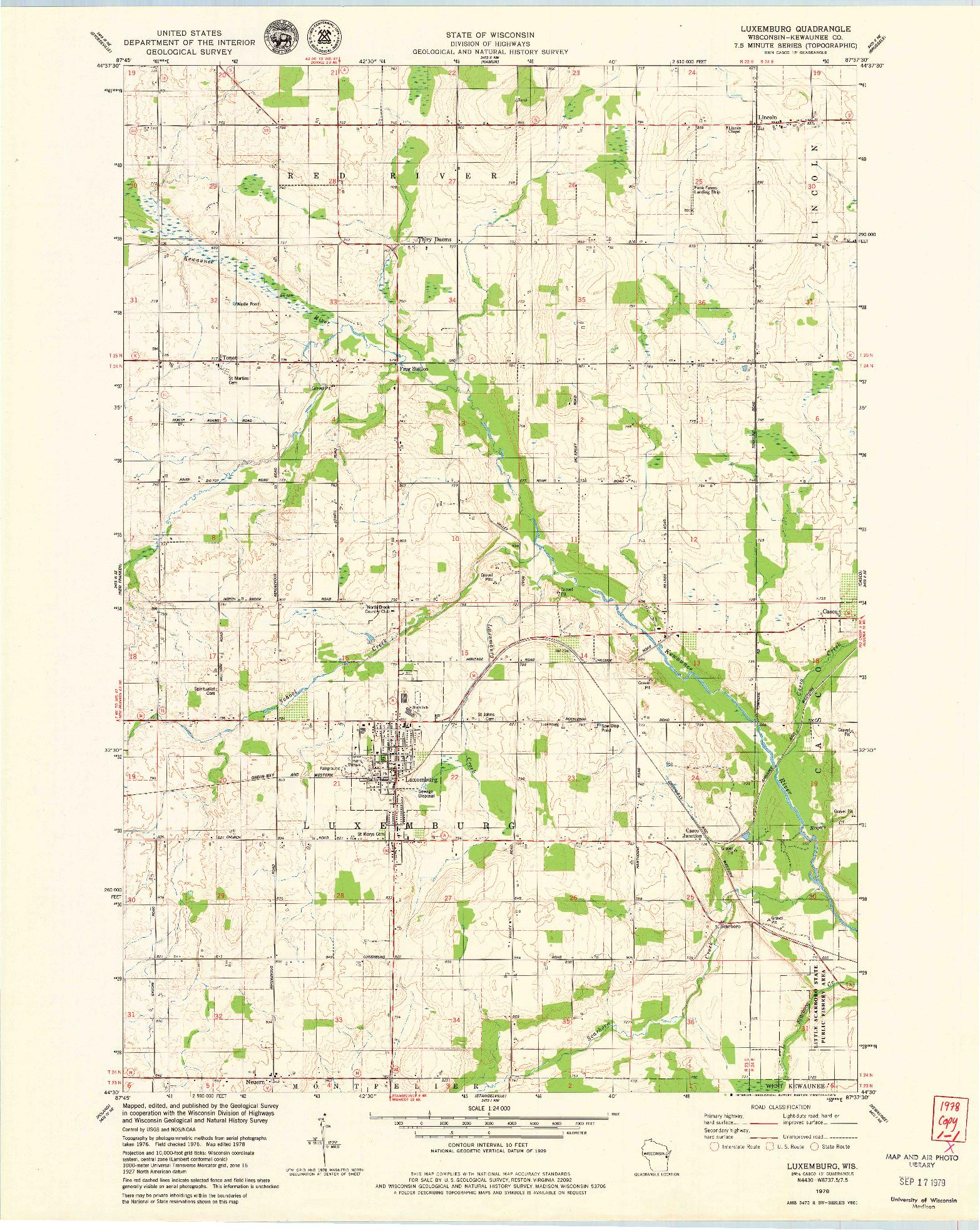 USGS 1:24000-SCALE QUADRANGLE FOR LUXEMBURG, WI 1978