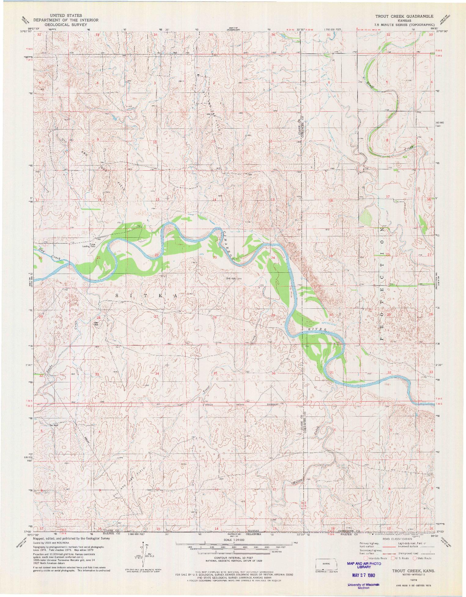 USGS 1:24000-SCALE QUADRANGLE FOR TROUT CREEK, KS 1979