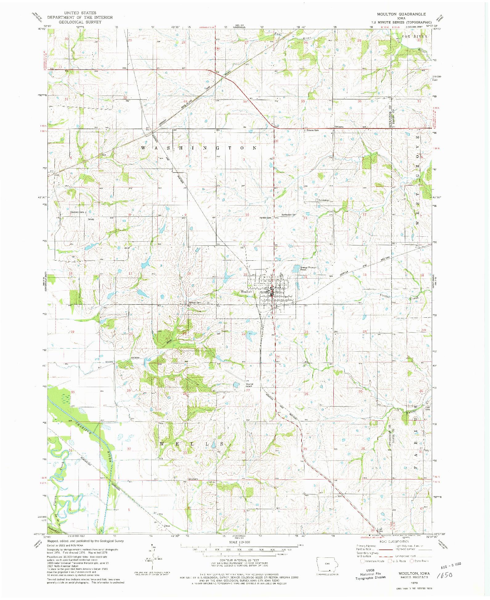 USGS 1:24000-SCALE QUADRANGLE FOR MOULTON, IA 1979