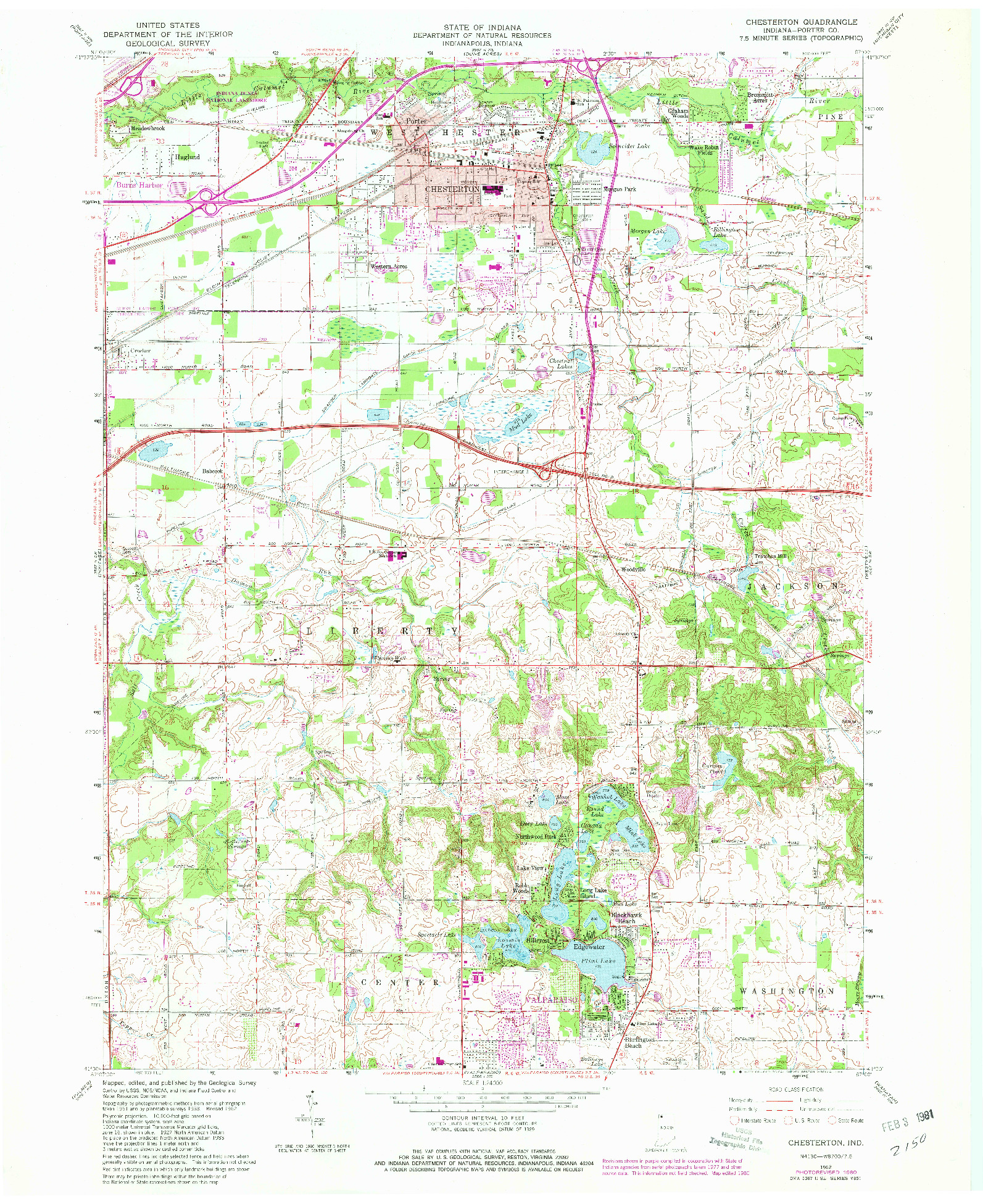 USGS 1:24000-SCALE QUADRANGLE FOR CHESTERTON, IN 1962