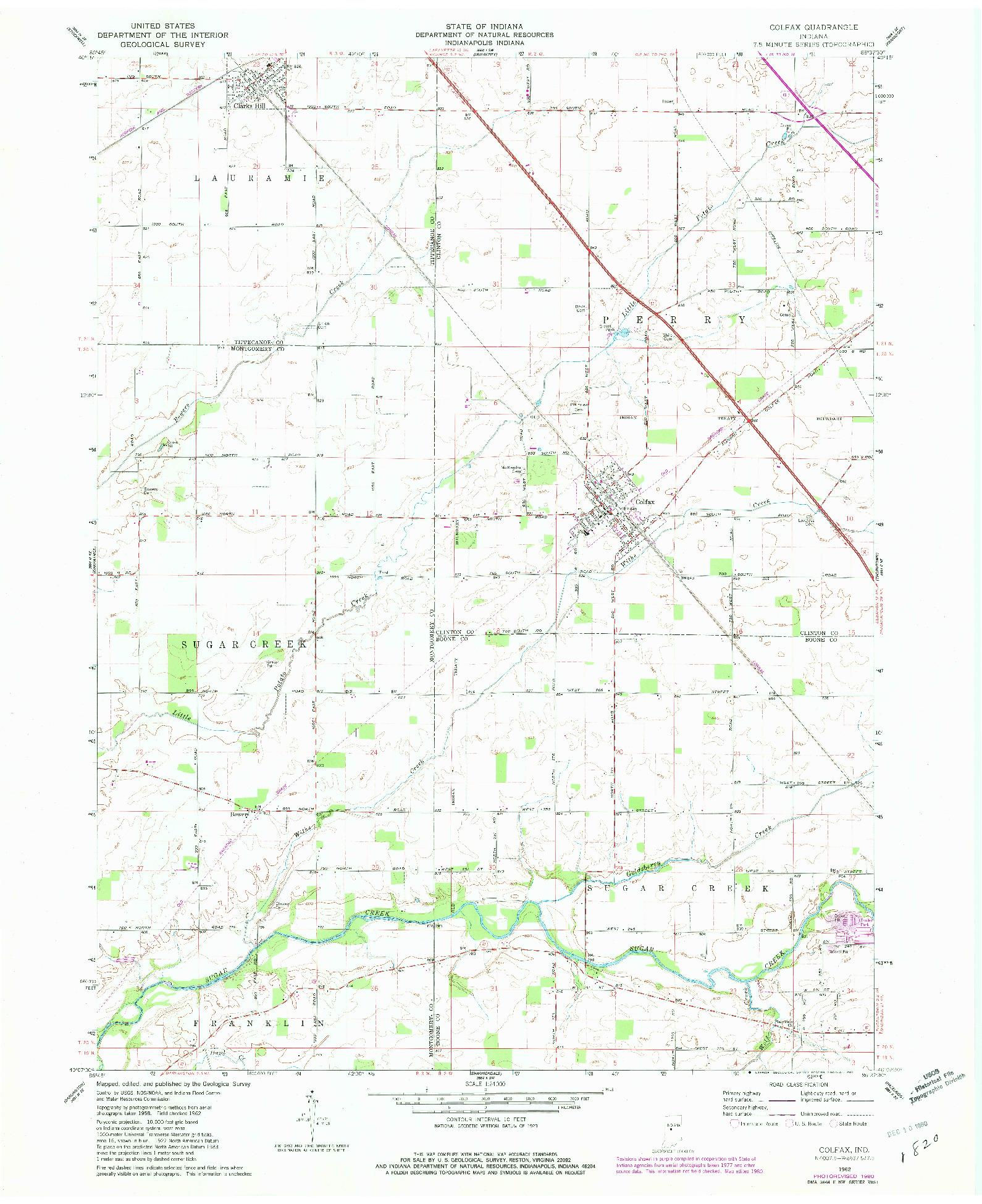 USGS 1:24000-SCALE QUADRANGLE FOR COLFAX, IN 1962