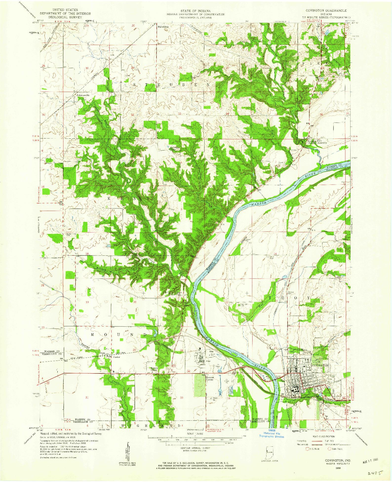 USGS 1:24000-SCALE QUADRANGLE FOR COVINGTON, IN 1958