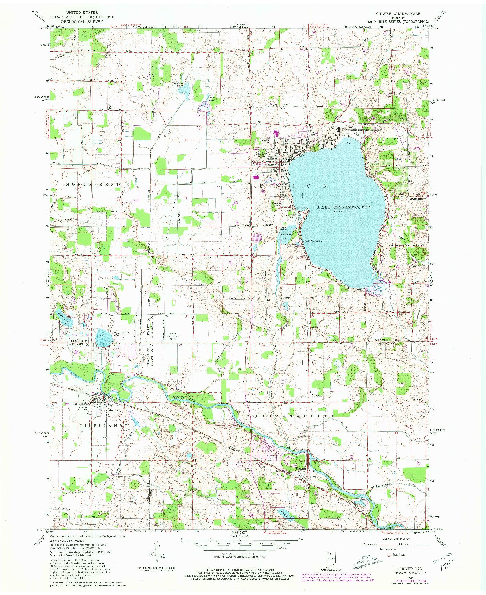 USGS 1:24000-SCALE QUADRANGLE FOR CULVER, IN 1962