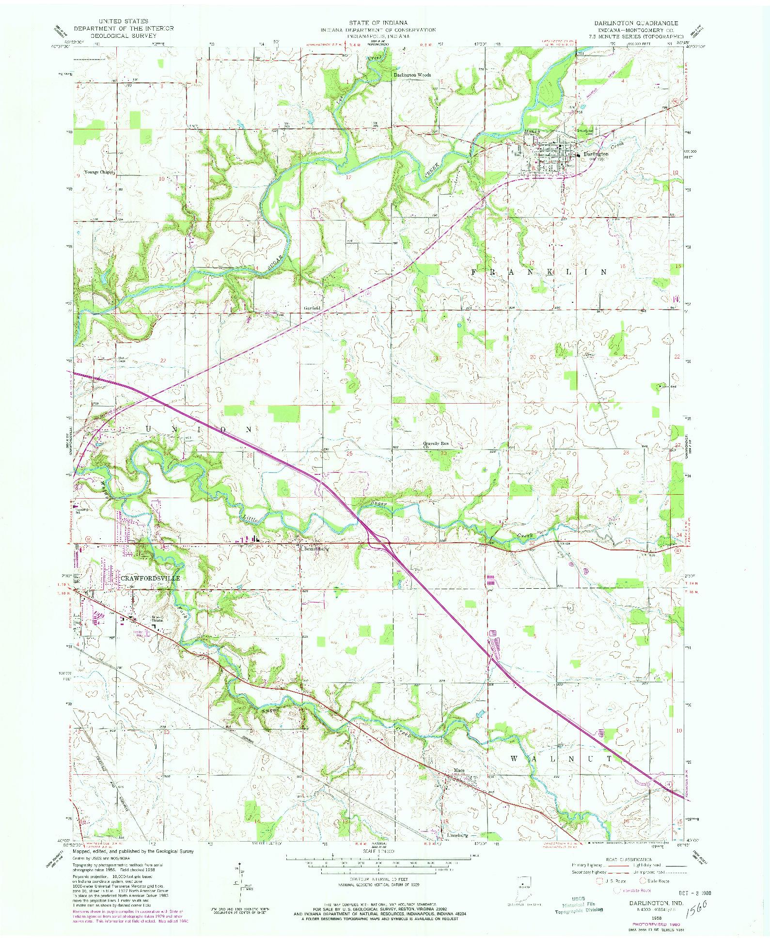 USGS 1:24000-SCALE QUADRANGLE FOR DARLINGTON, IN 1958